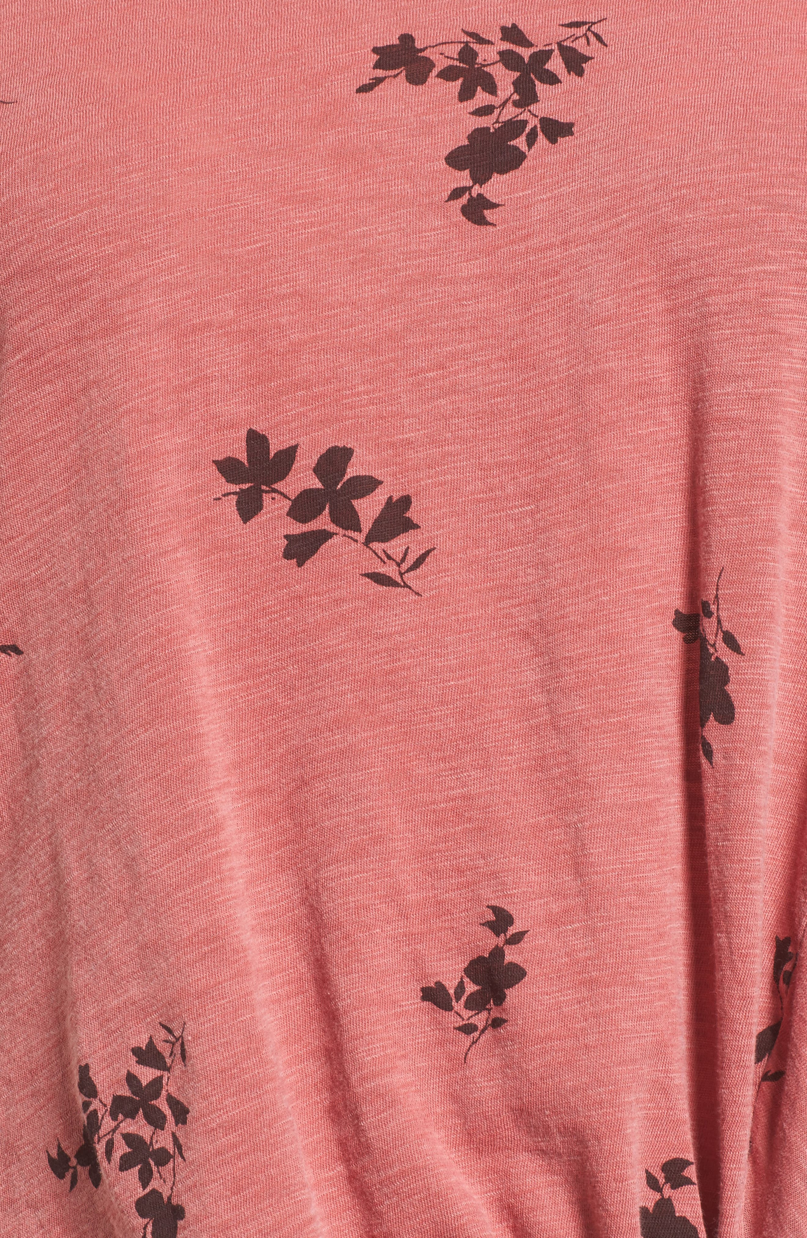 Wine Floral Twist Front Tee,                             Alternate thumbnail 5, color,