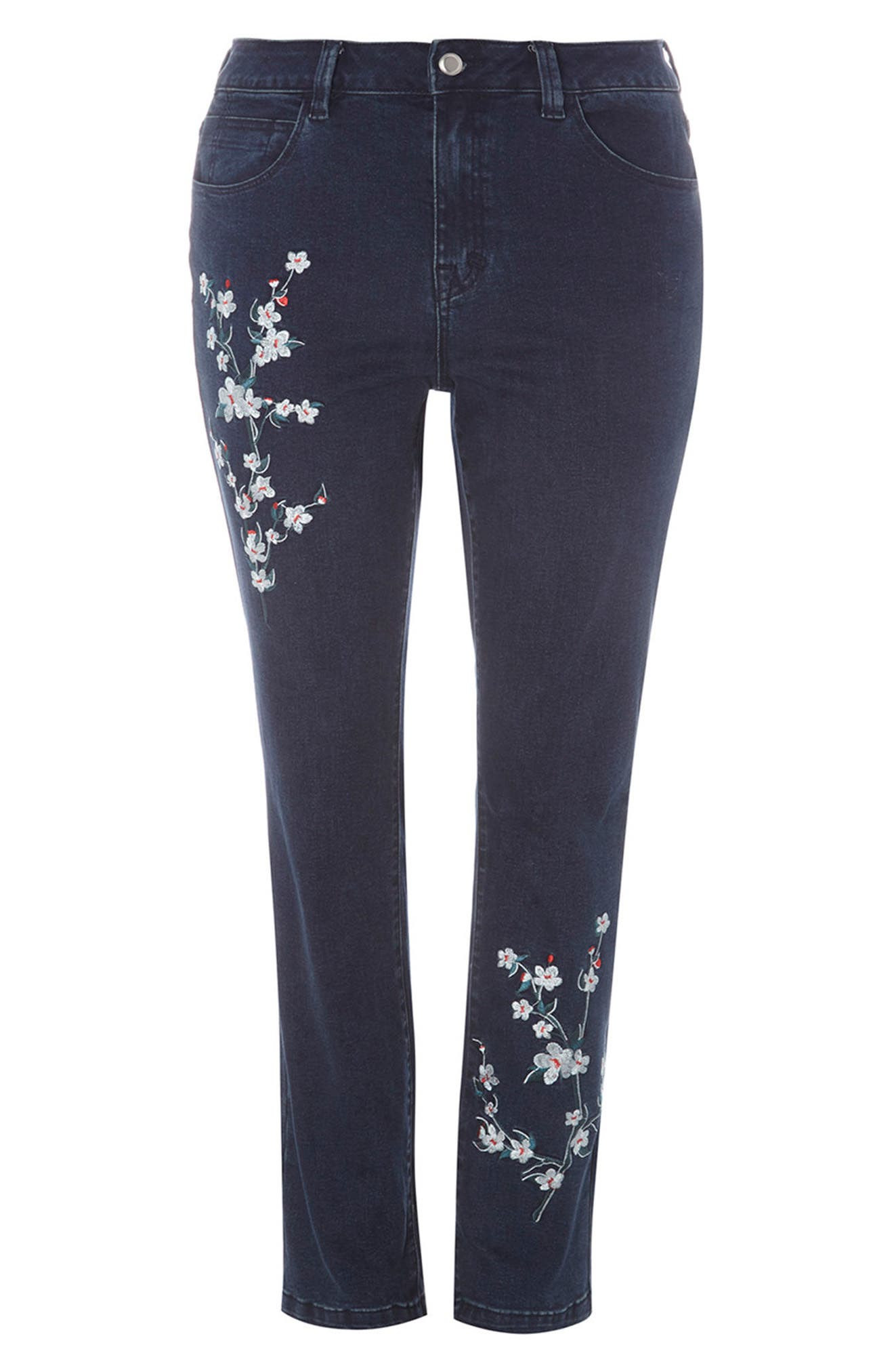 Embroidered Straight Leg Jeans,                             Alternate thumbnail 4, color,                             400