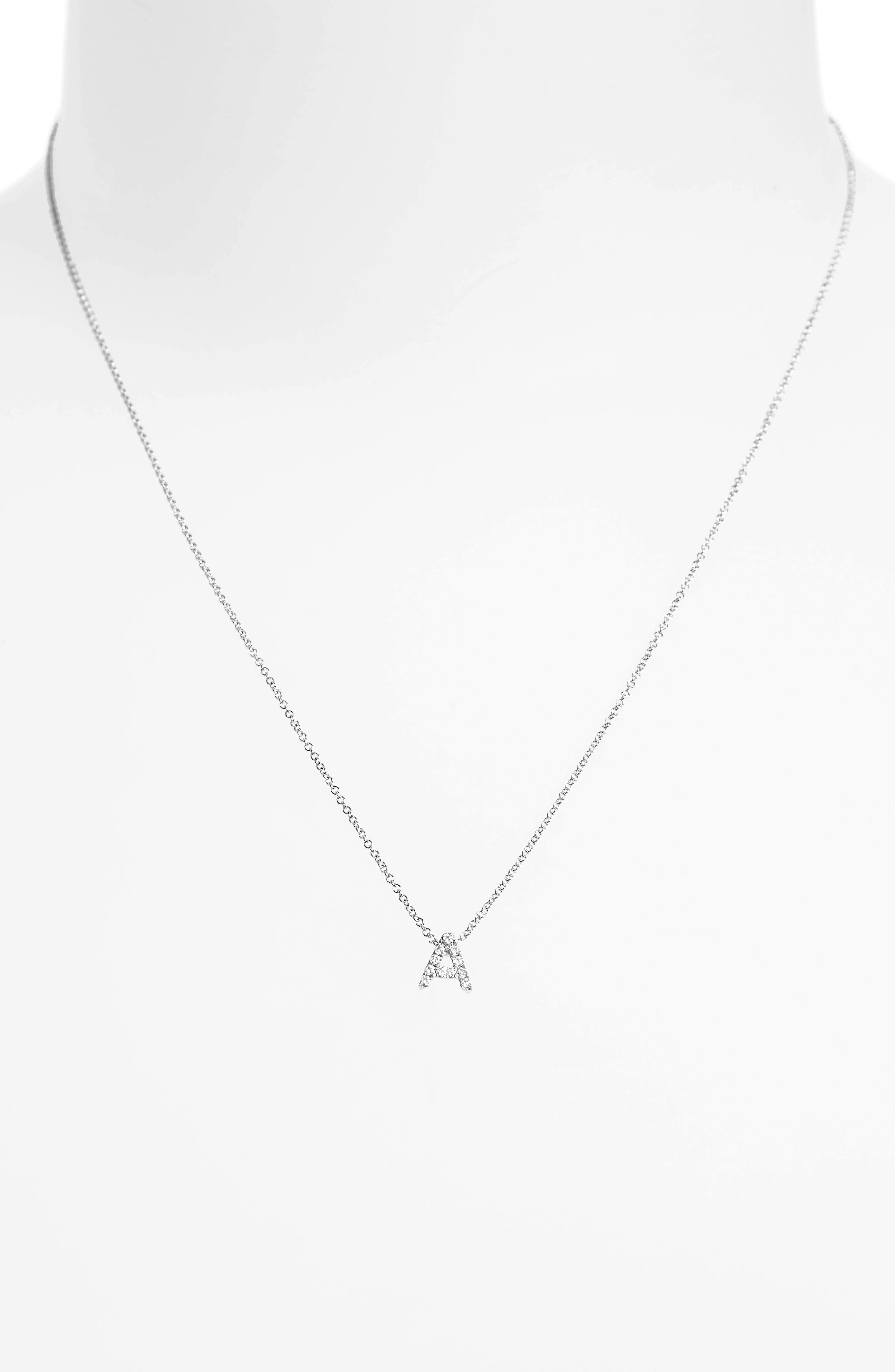 18k Gold Pavé Diamond Initial Pendant Necklace,                             Alternate thumbnail 4, color,                             WHITE GOLD - A