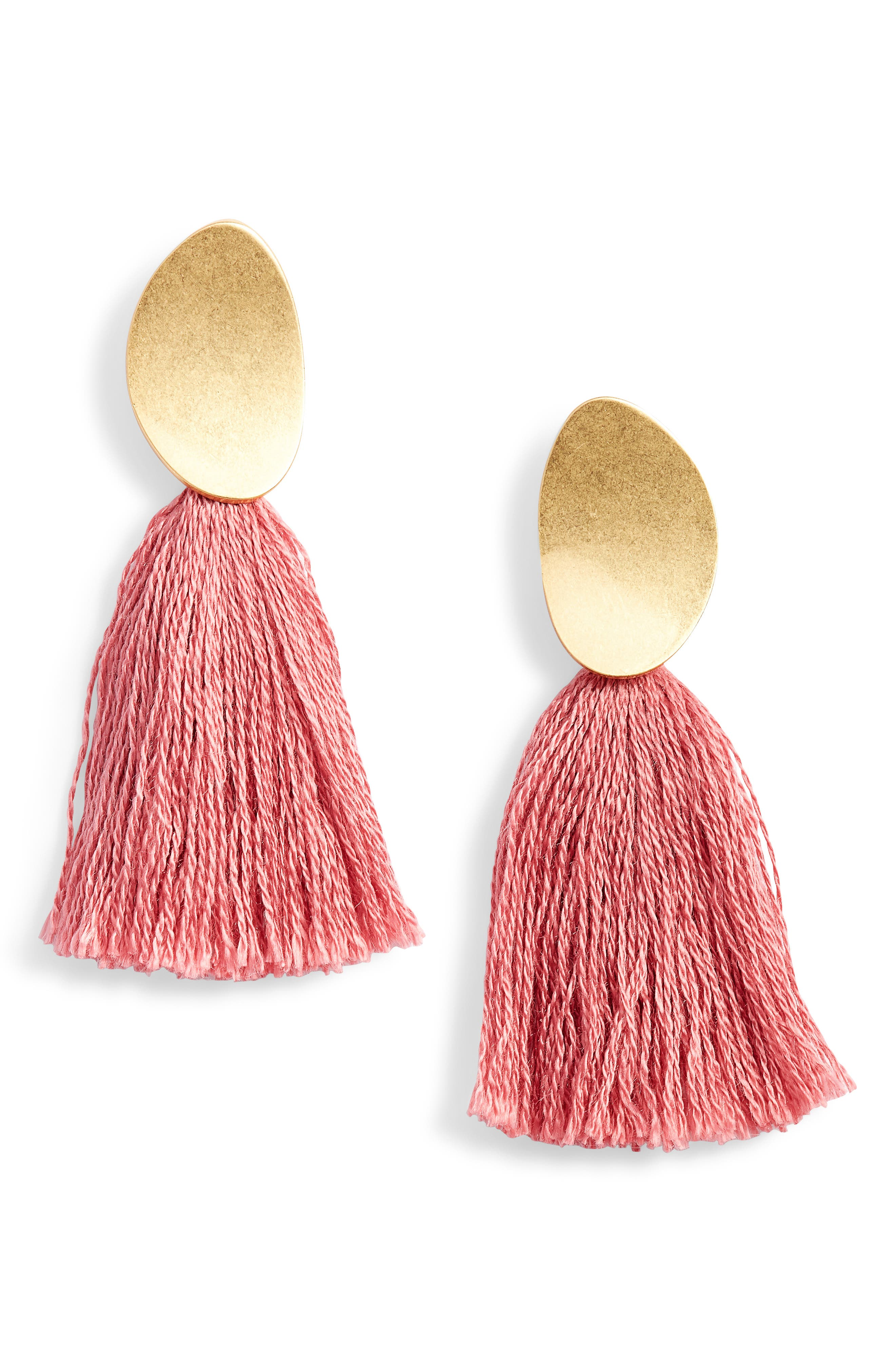 Curved Tassel Earrings,                             Main thumbnail 5, color,