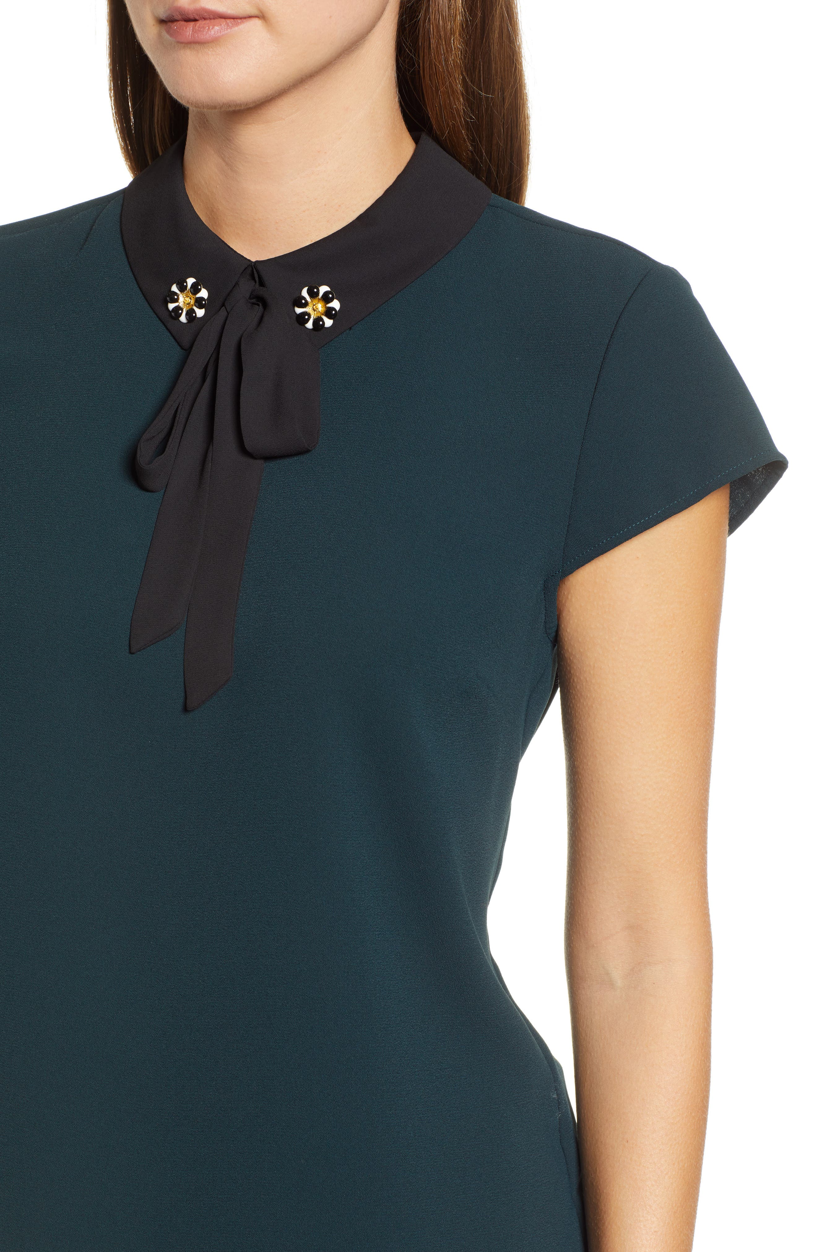 Embellished Bow Collar Blouse,                             Alternate thumbnail 4, color,                             305