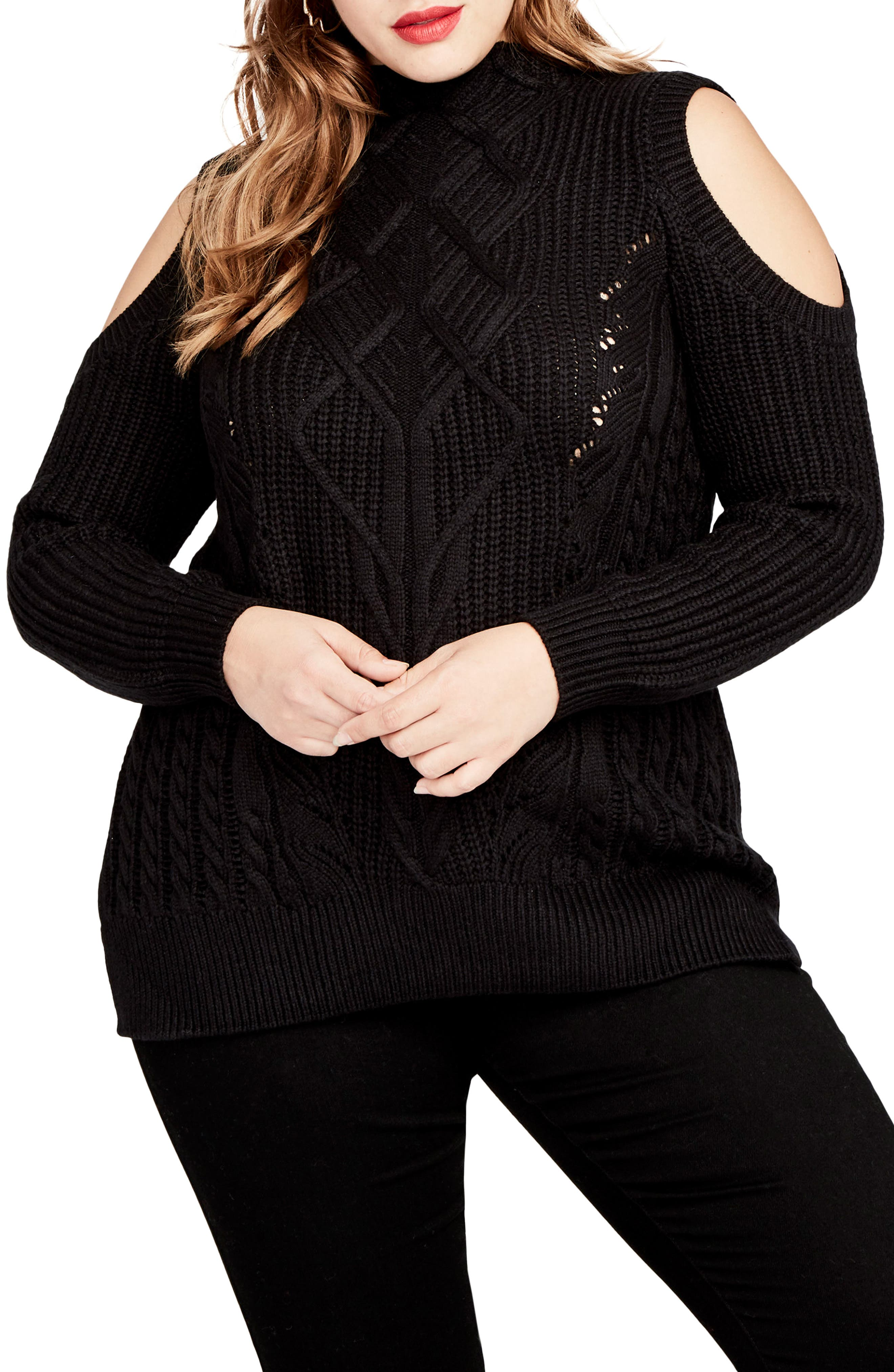 Cold Shoulder Cable Sweater,                             Main thumbnail 1, color,                             001