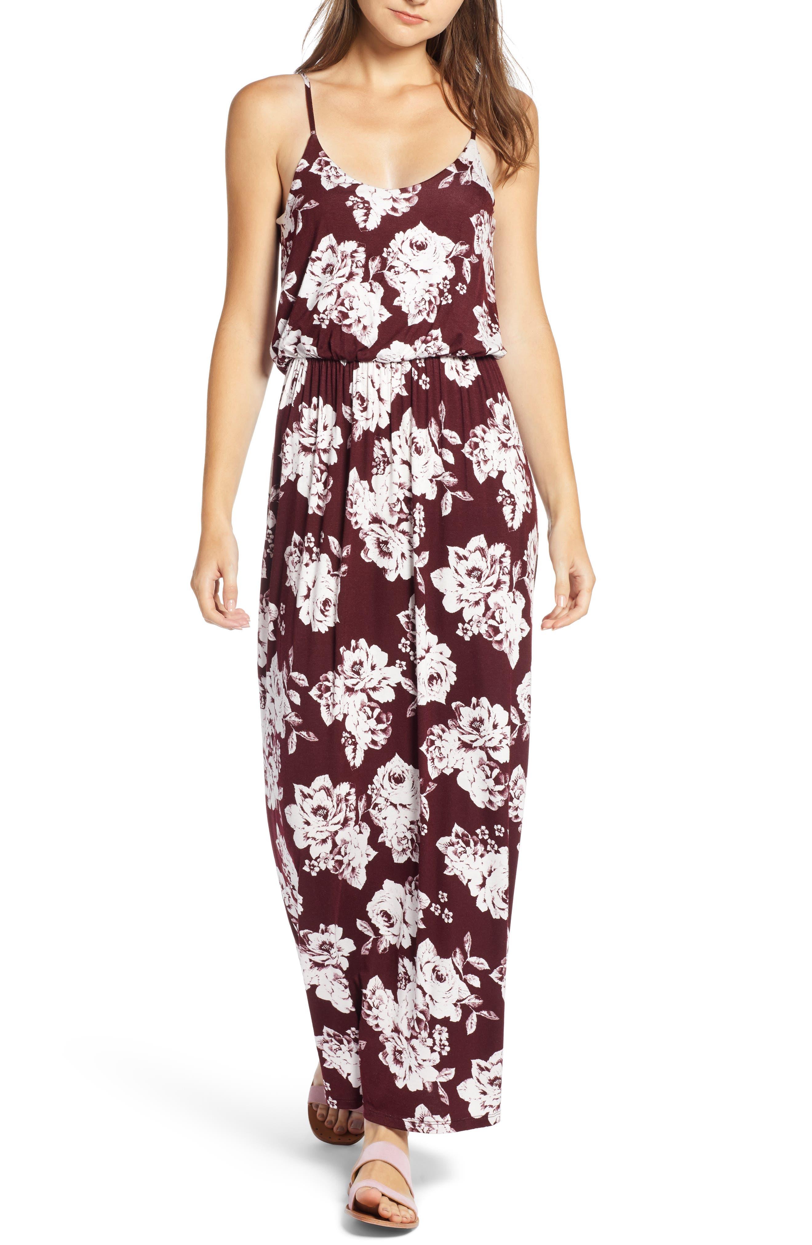 Knit Maxi Dress,                             Main thumbnail 1, color,                             BURGUNDY FLORAL