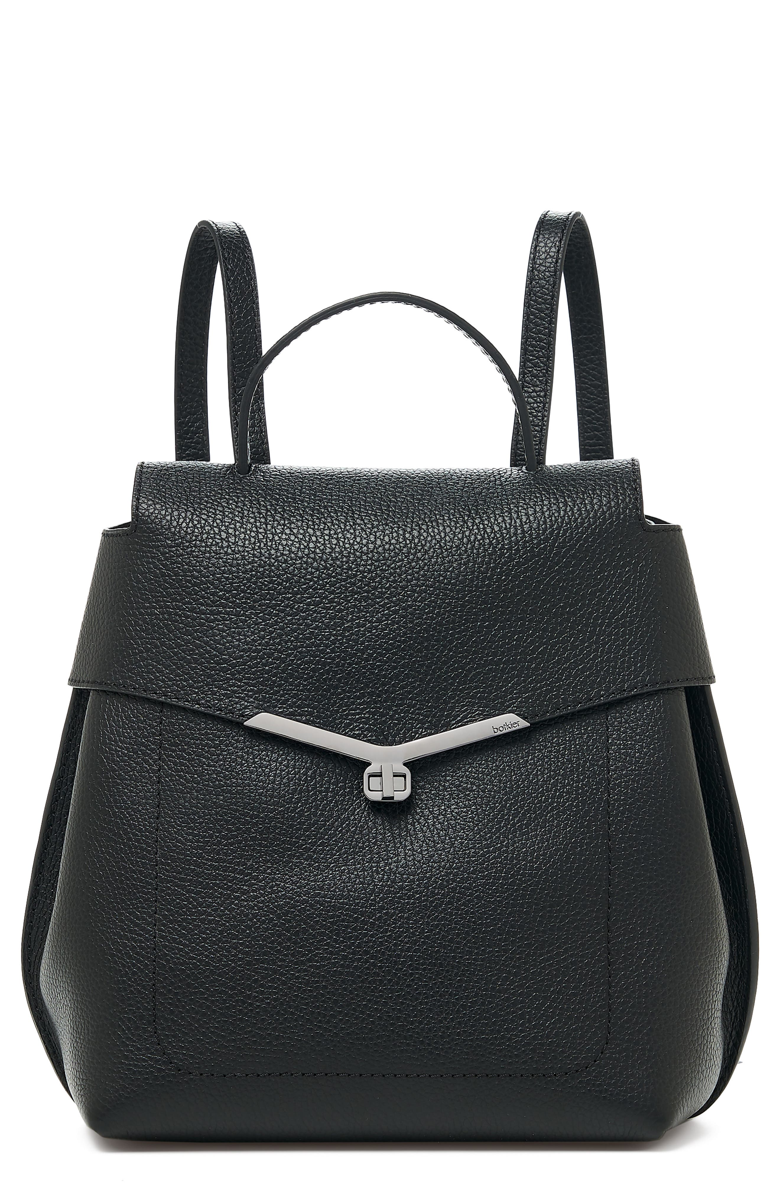 Valentina Wrap Leather Backpack,                             Main thumbnail 1, color,                             BLACK