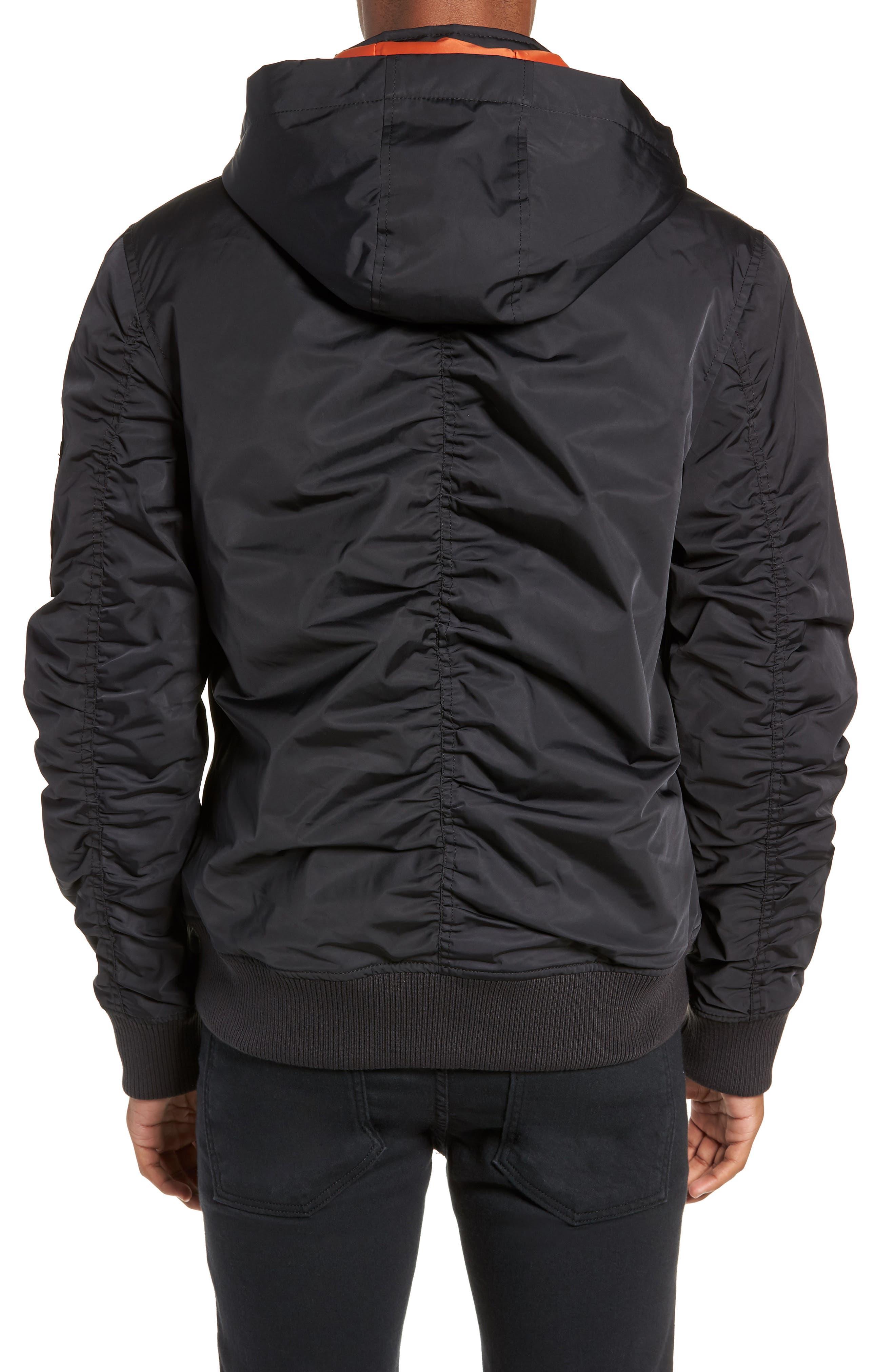 Hooded Nylon Bomber Jacket,                             Alternate thumbnail 2, color,                             BLACK ROCK