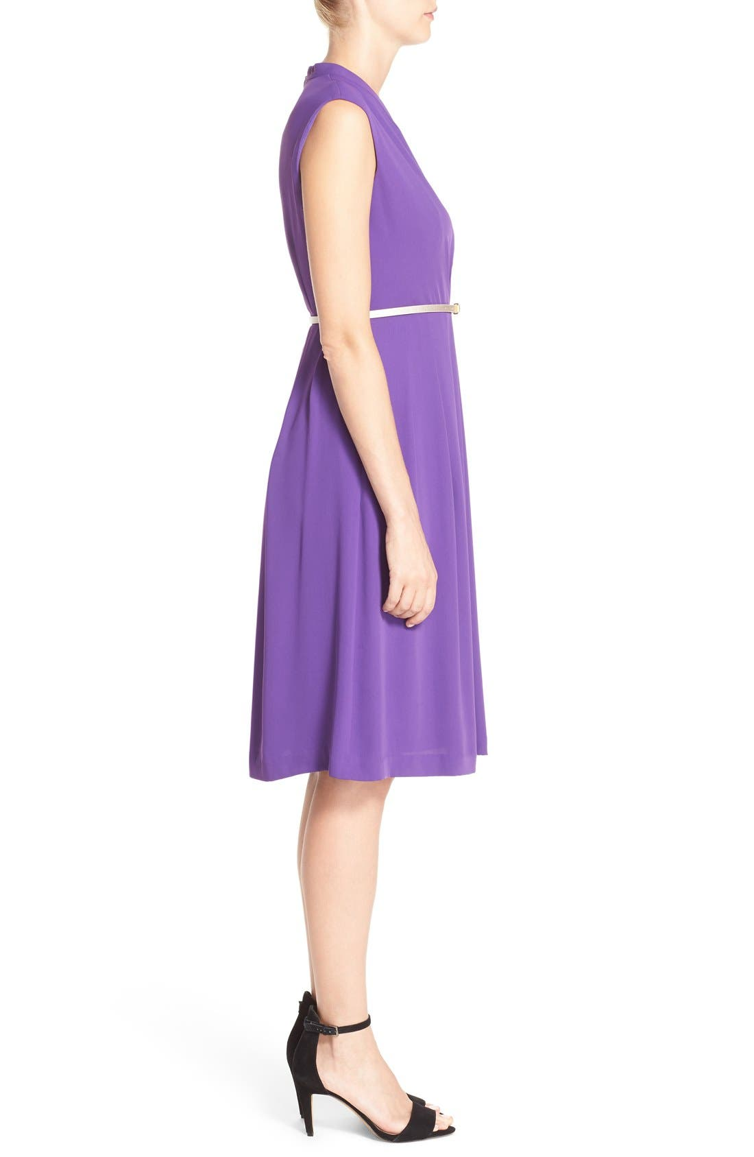 Belted Woven Fit & Flare Dress,                             Alternate thumbnail 7, color,