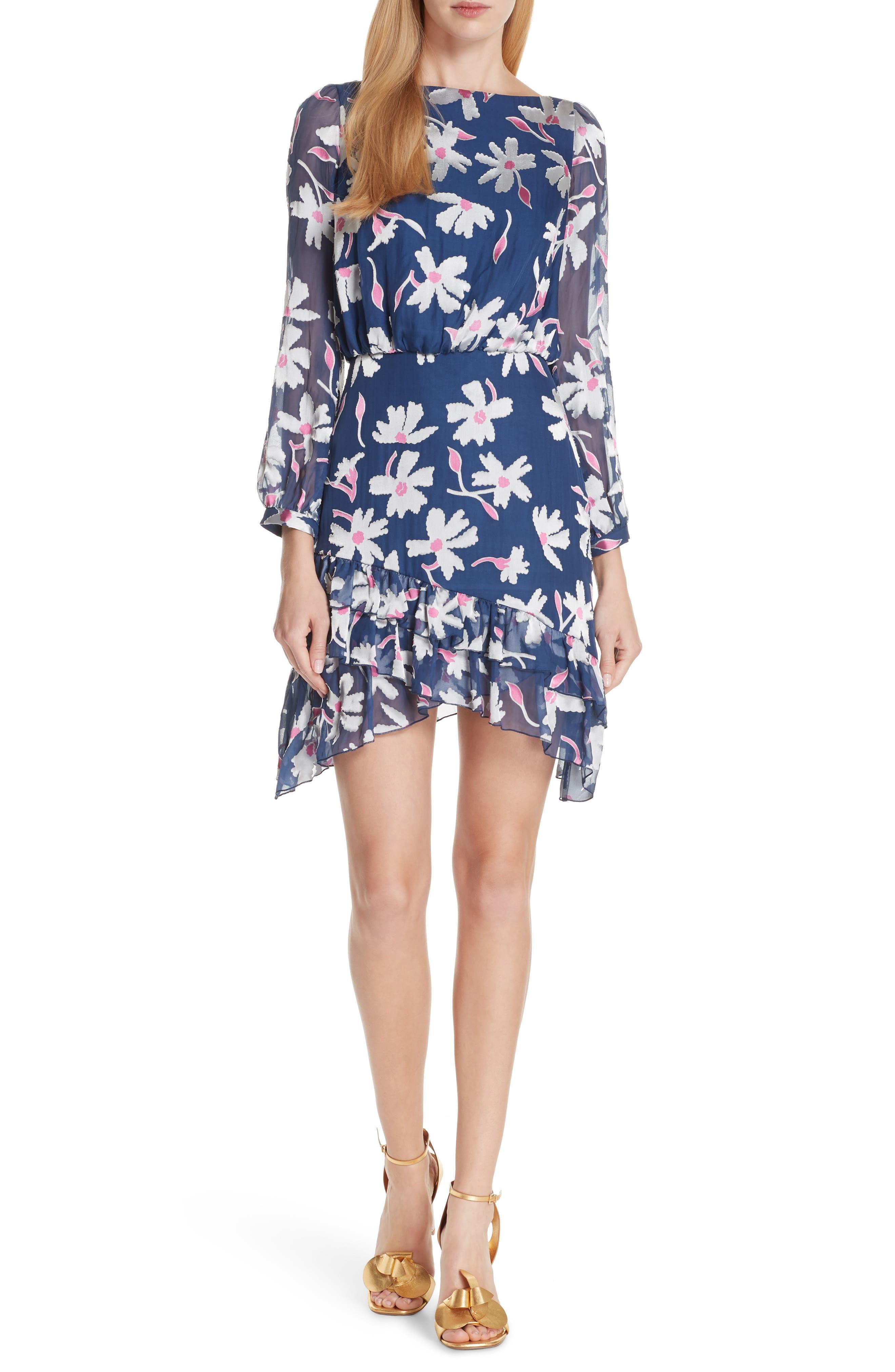 Felicia Asymmetrical Silk Blend Dress,                         Main,                         color, WATER DAISIES
