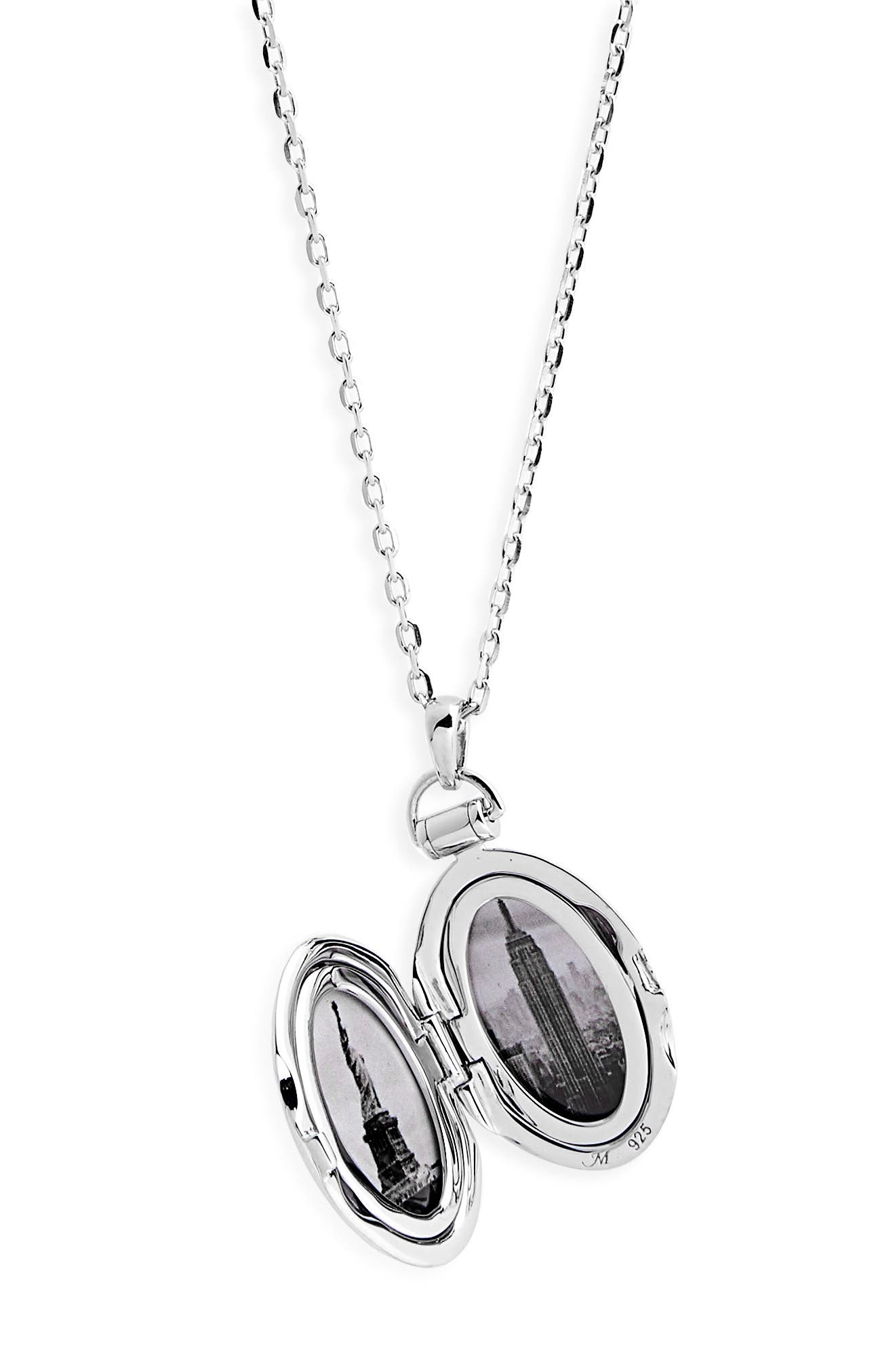 Locket Necklace,                             Alternate thumbnail 3, color,                             STERLING SILVER