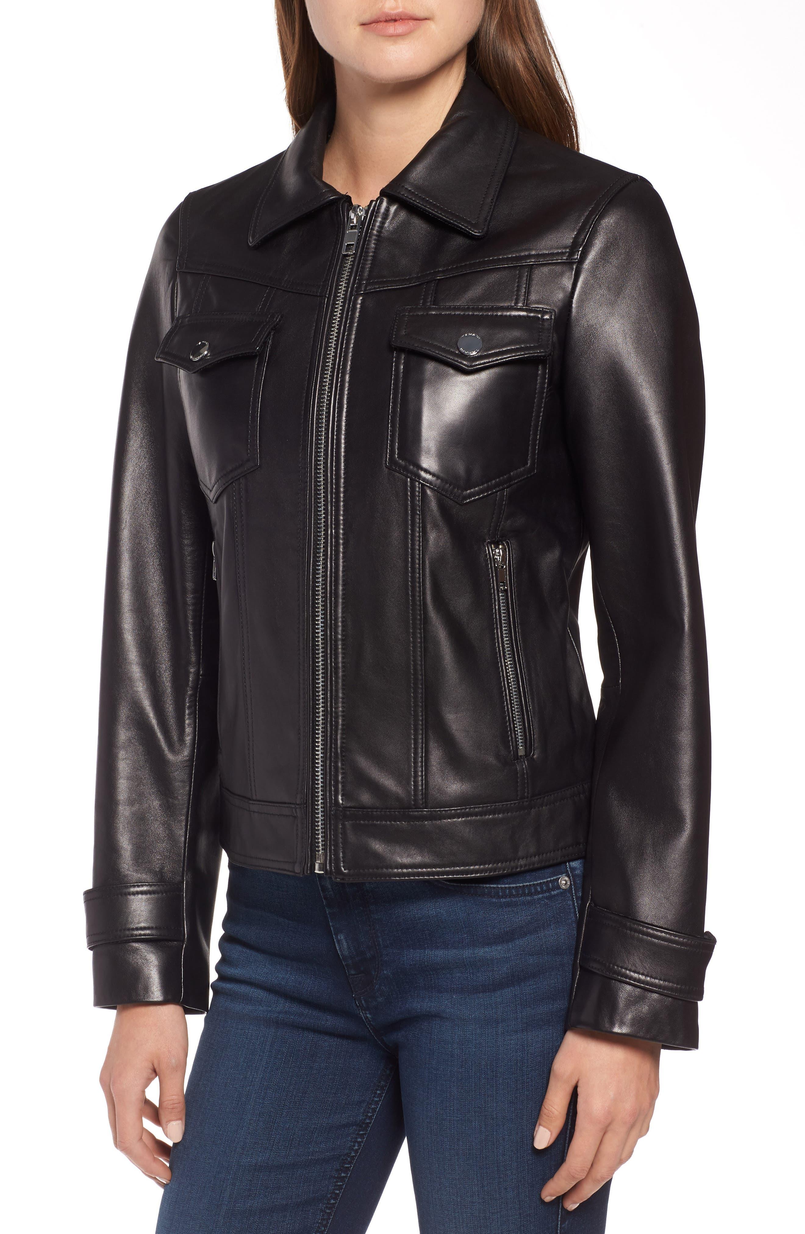 Esther Leather Trucker Jacket,                             Alternate thumbnail 4, color,                             BLACK