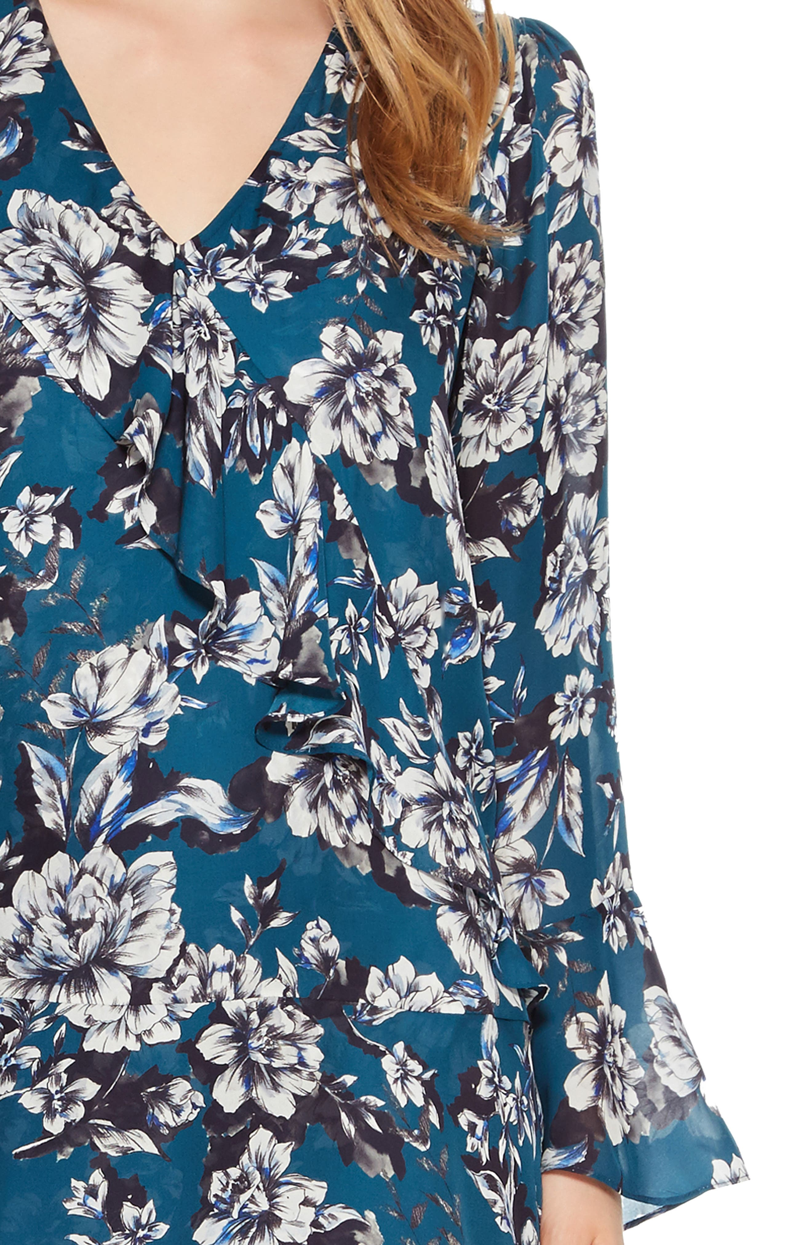 Skylar Floral Print Dress,                             Alternate thumbnail 4, color,                             EVERGLADE GARDENS