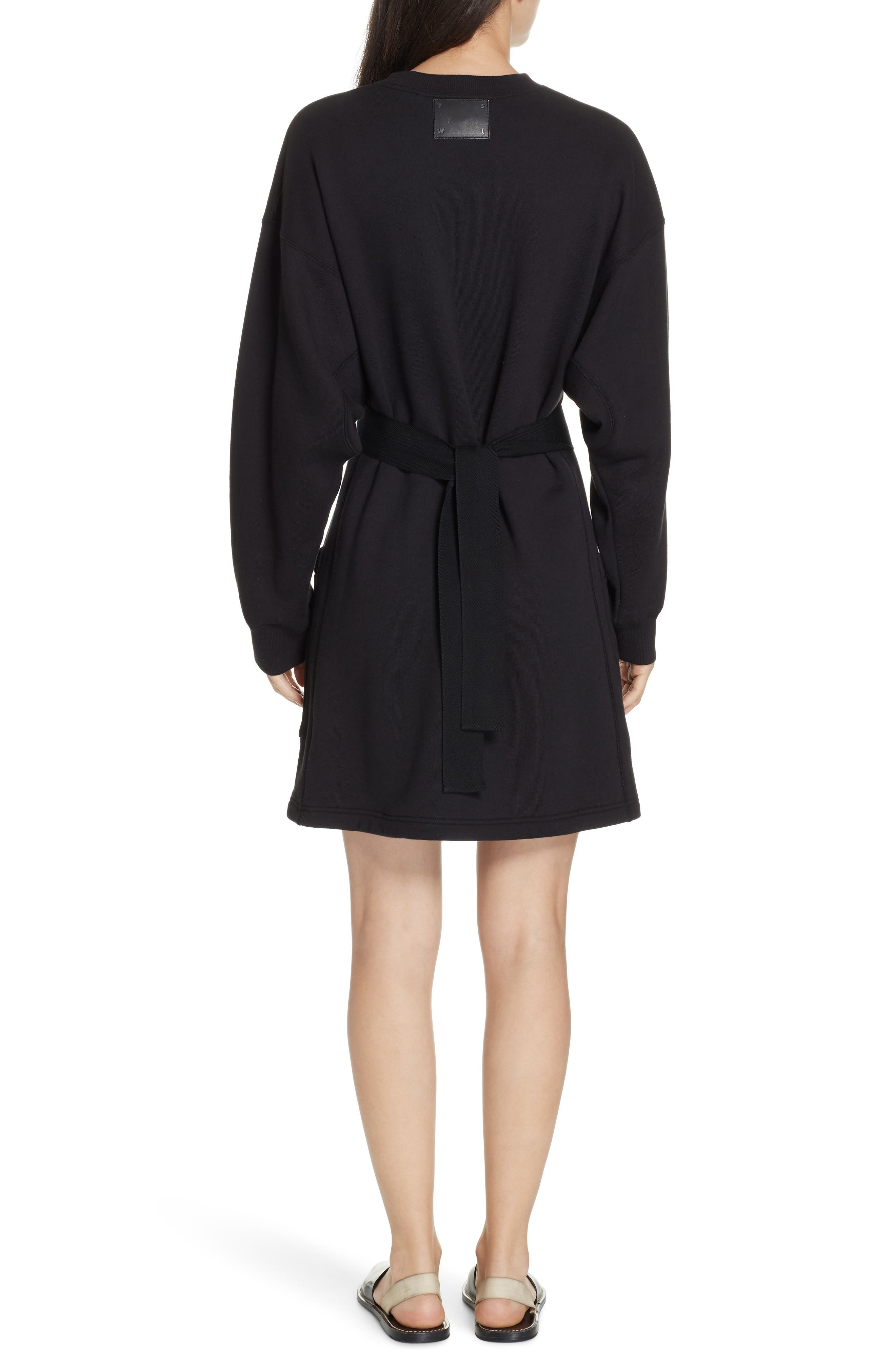 PSWL Belted Sweatshirt Dress,                             Alternate thumbnail 2, color,                             BLACK