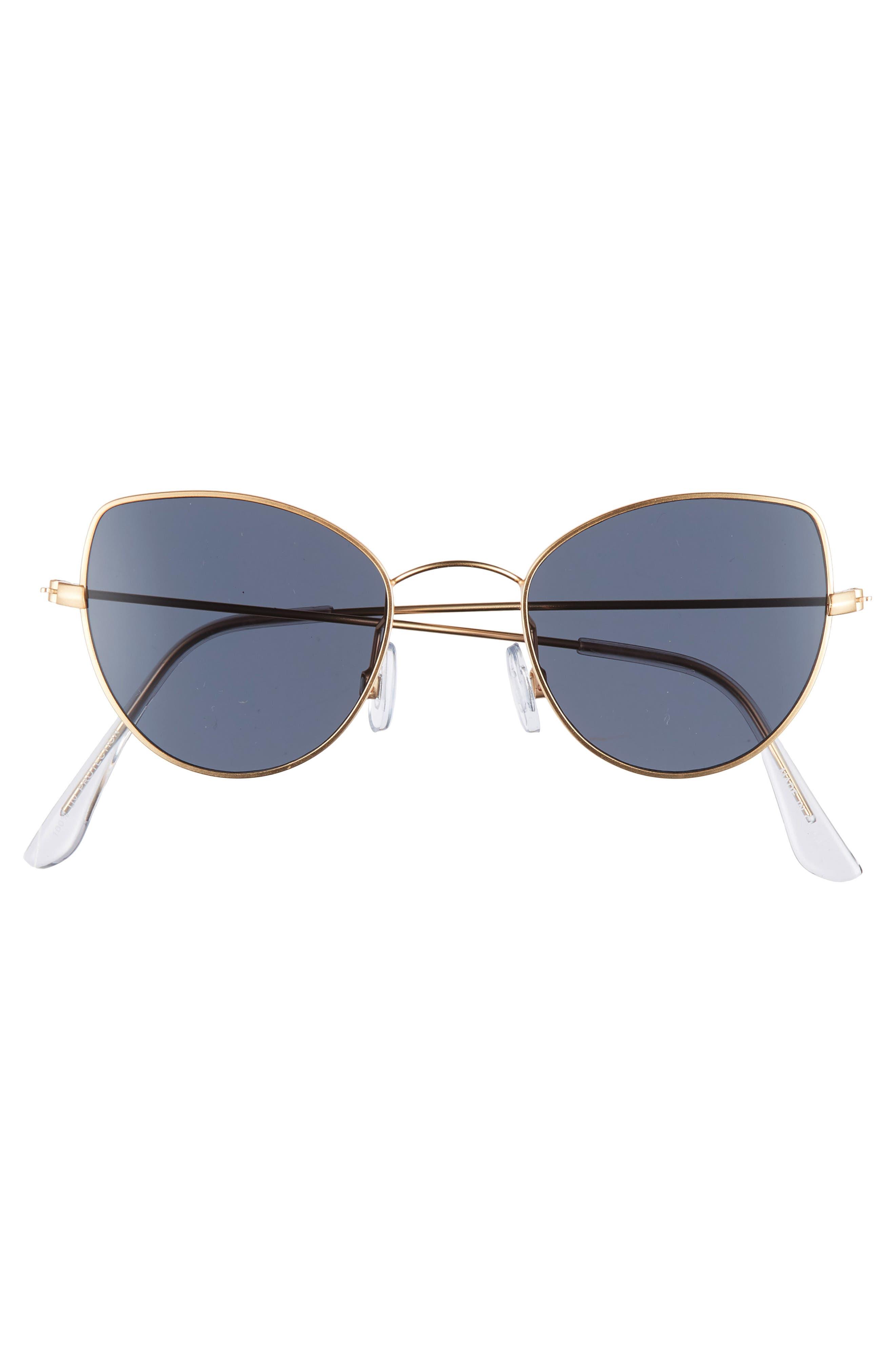 48mm Cat Eye Sunglasses,                             Alternate thumbnail 3, color,                             BLACK/ GOLD