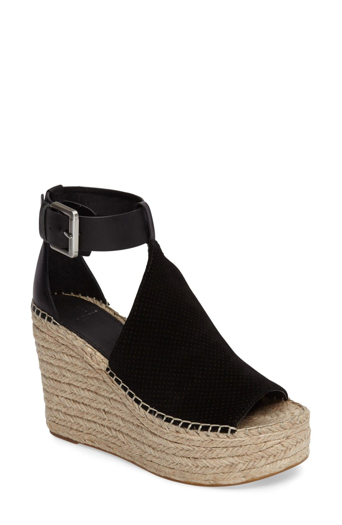 Annie Perforated Espadrille Platform Wedge,                             Main thumbnail 4, color,