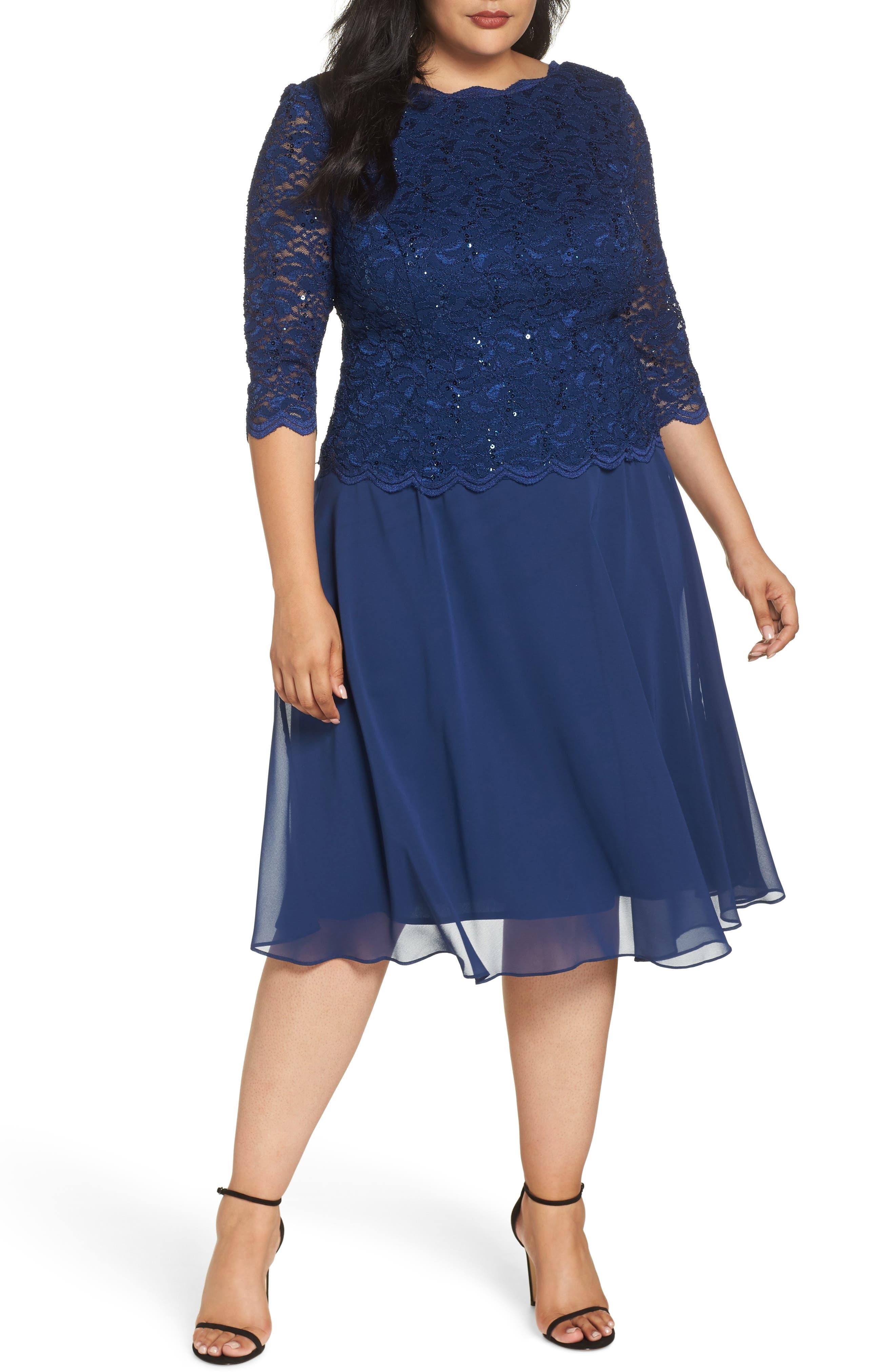 Plus Size Alex Evenings Mock Two-Piece Tea Length Dress, Blue