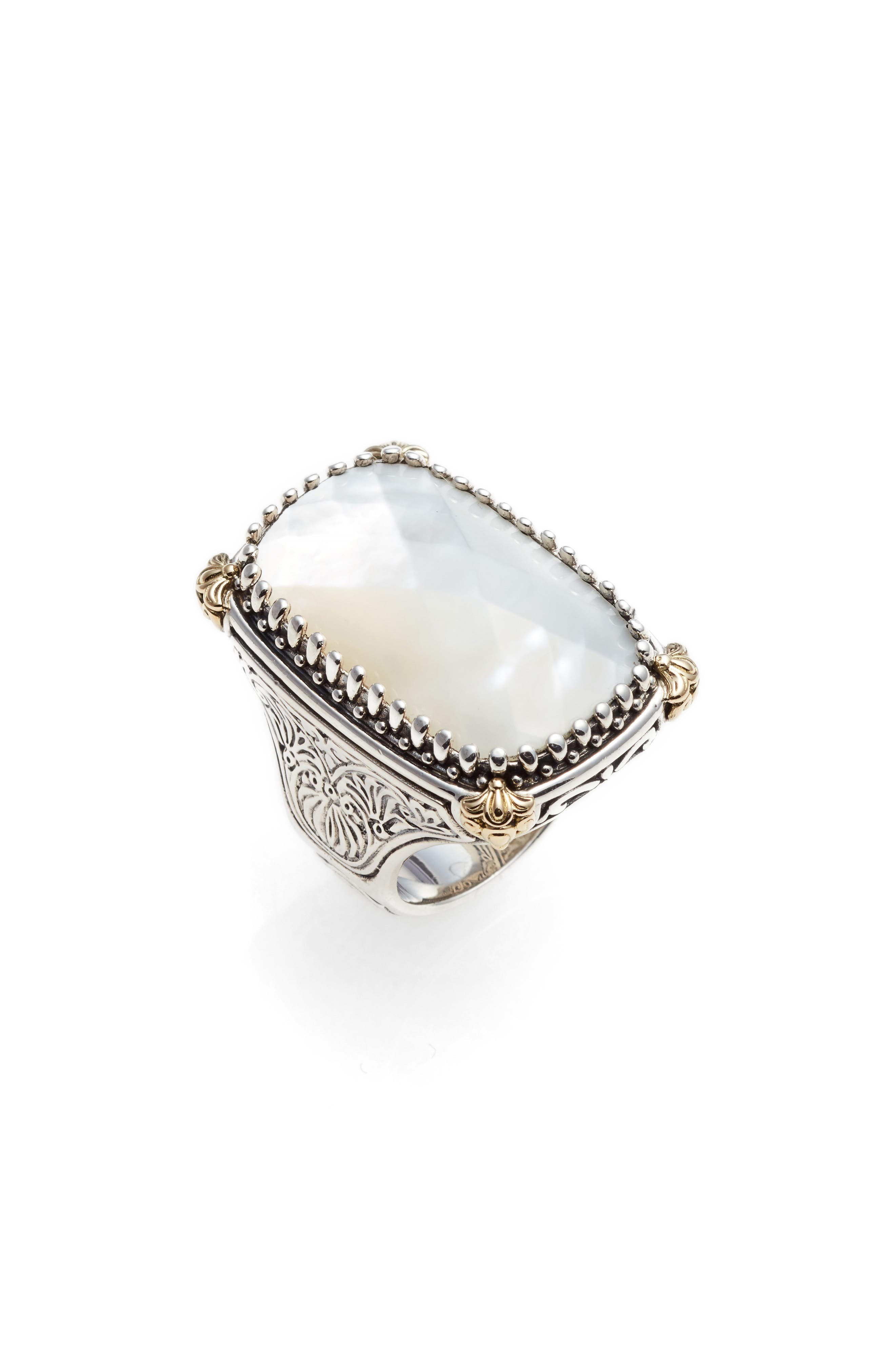 KONSTANTINO Selene Mother of Pearl Ring, Main, color, SILVER/ GOLD/ MOTHER OF PEARL