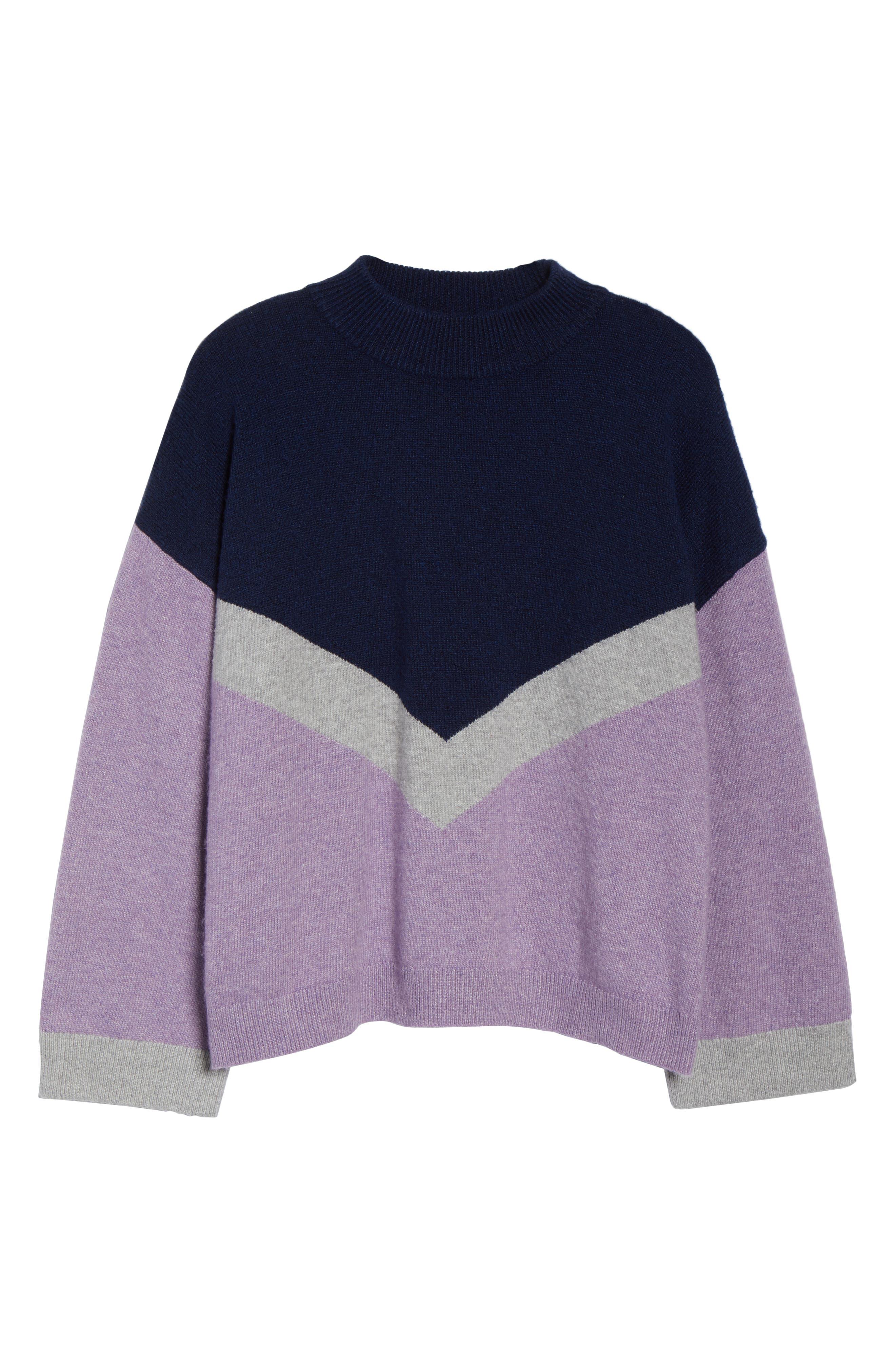 Chevron Stripe Sweater,                             Alternate thumbnail 6, color,                             PURPLE WAVE CHALET