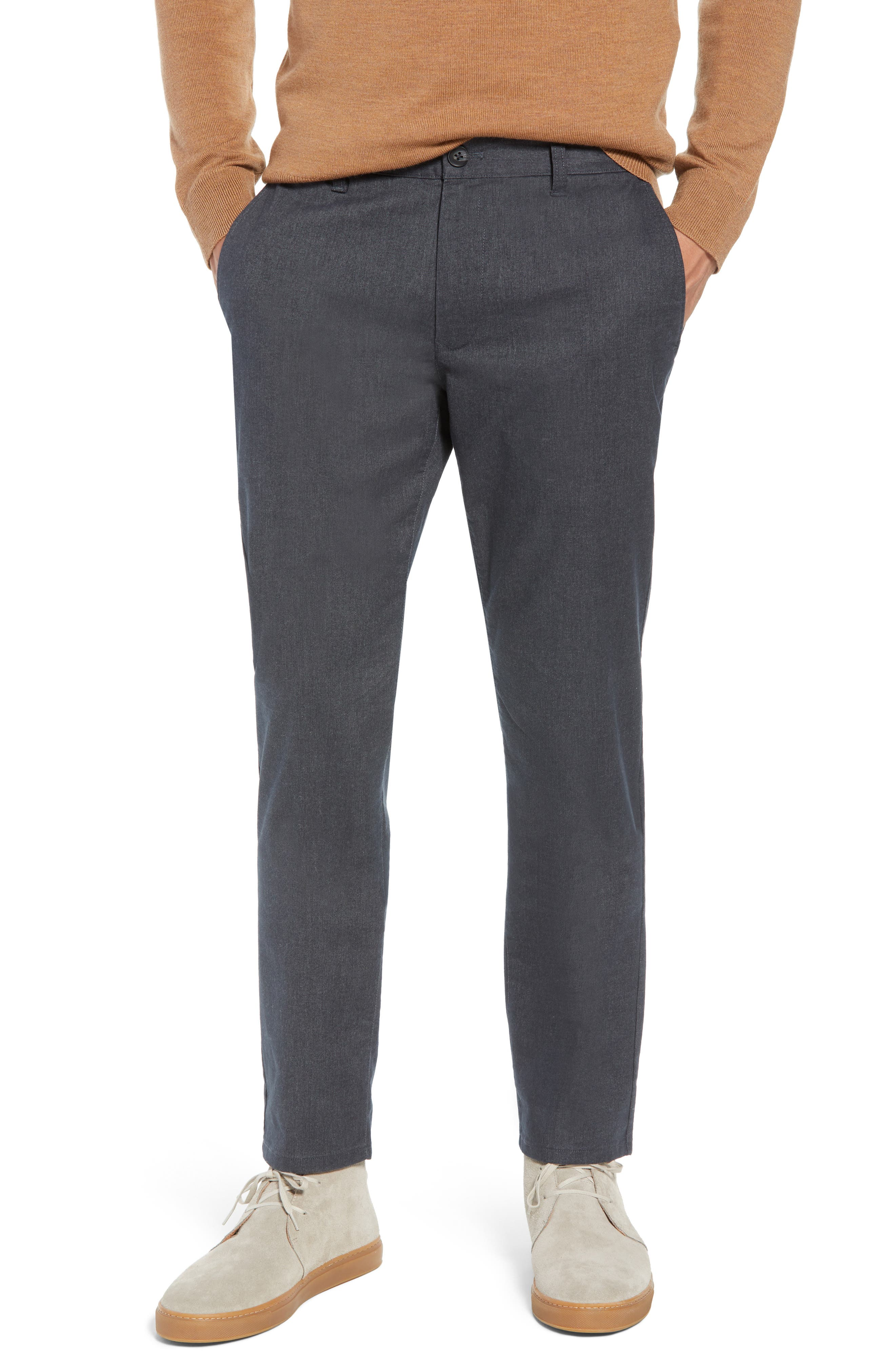 Slim Fit Stretch Yarn-Dye Washed Chinos,                         Main,                         color, CHARCOAL HEATHER