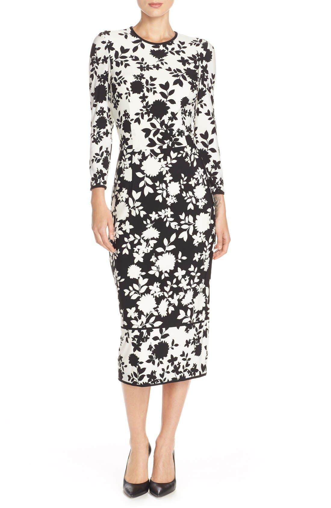 Floral Print Jersey Midi Dress,                             Main thumbnail 1, color,                             005