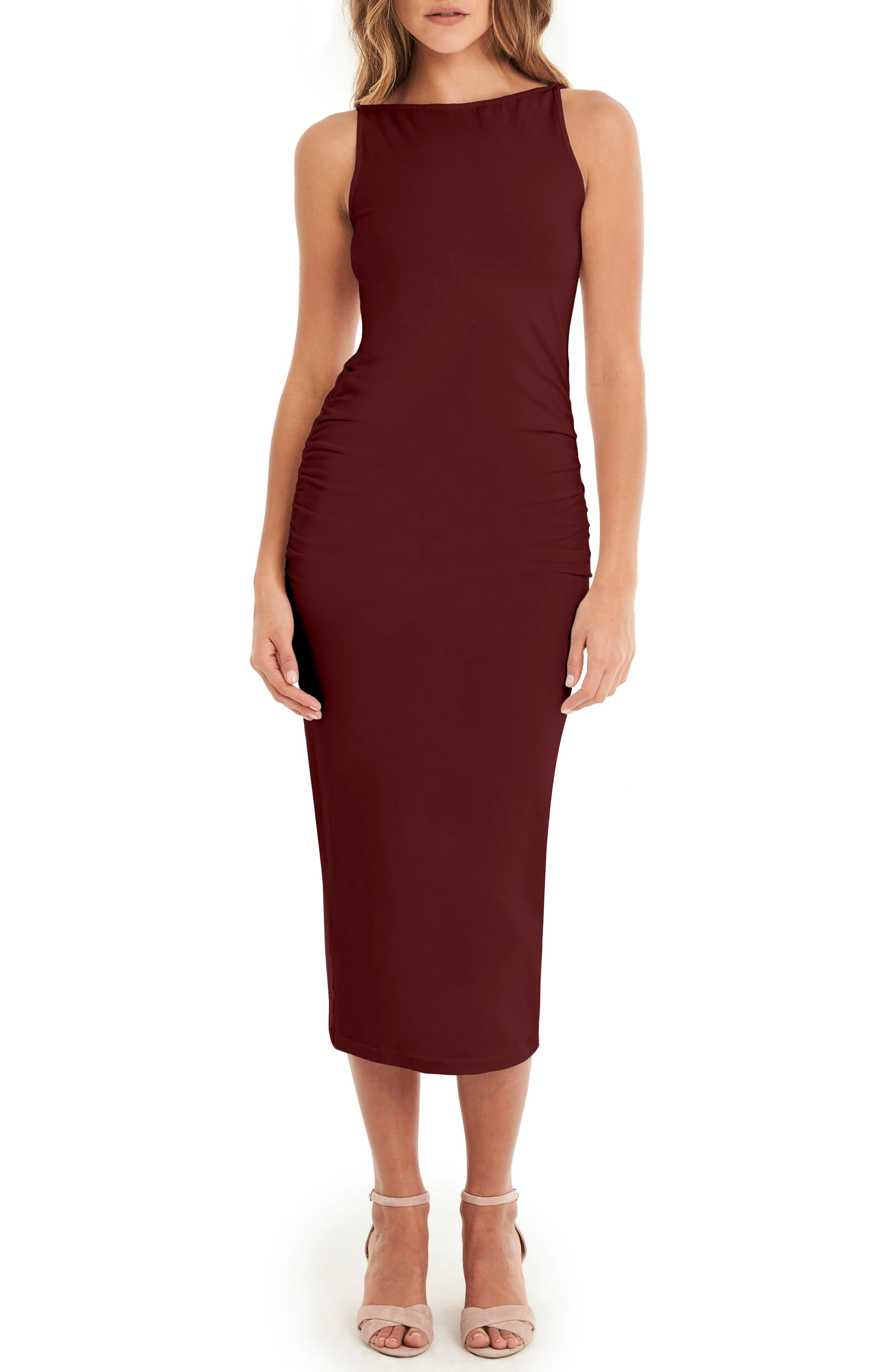 Reversible Stretch Cotton Midi Dress,                         Main,                         color, PINOT