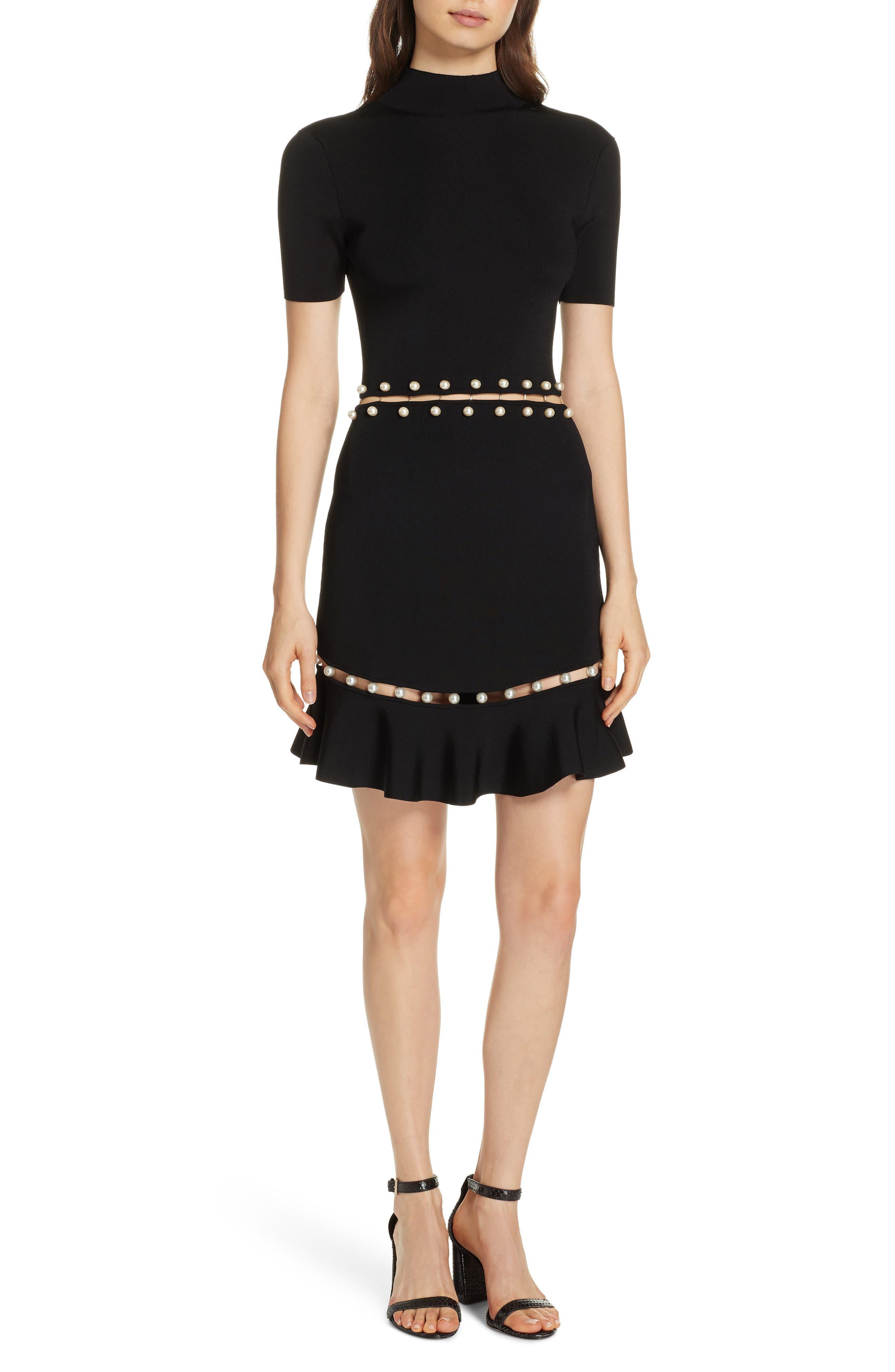 Alice + Olivia Evelyn Embellished Fit & Flare Dress, Black