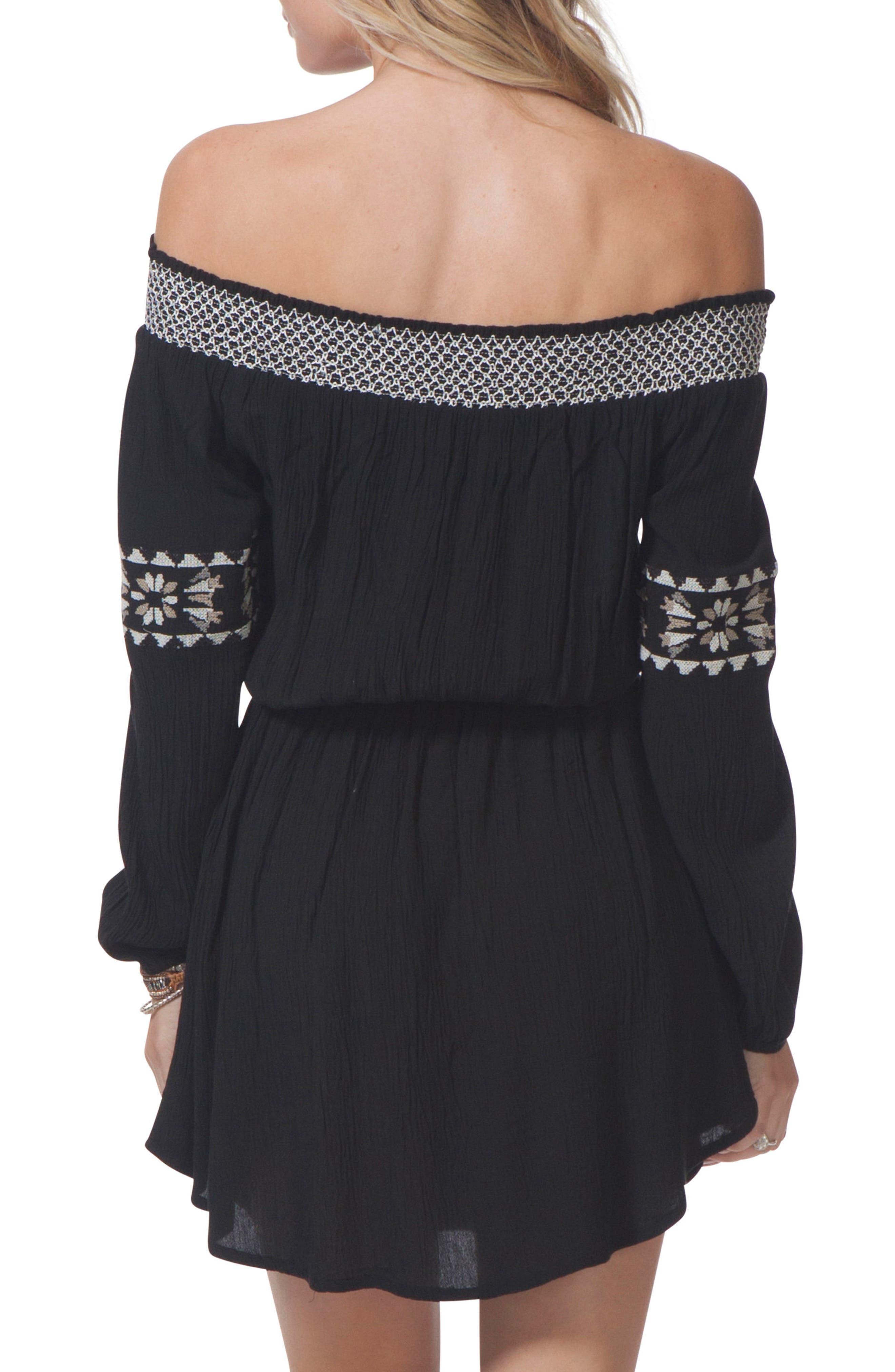 Serena Embroidered Off the Shoulder Dress,                             Alternate thumbnail 2, color,                             BLACK