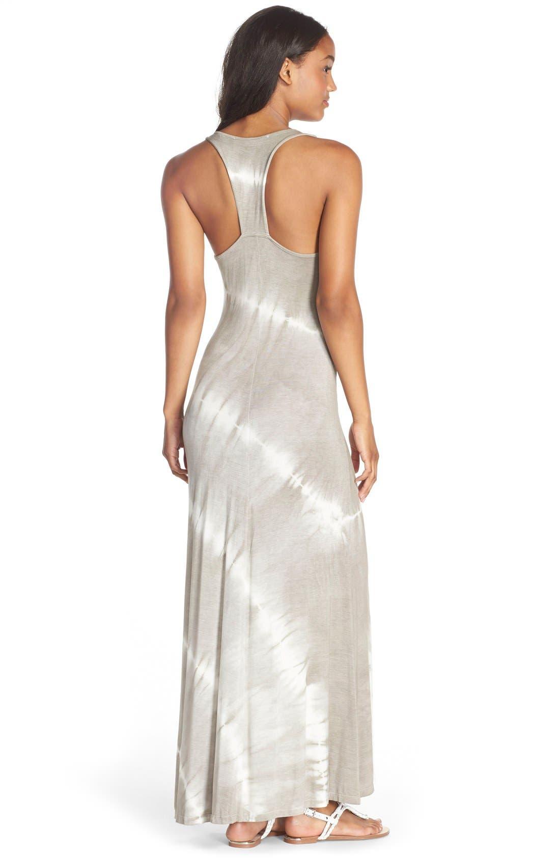 Tie Dye Racerback Maxi Dress,                             Alternate thumbnail 8, color,                             GREY/ WHITE