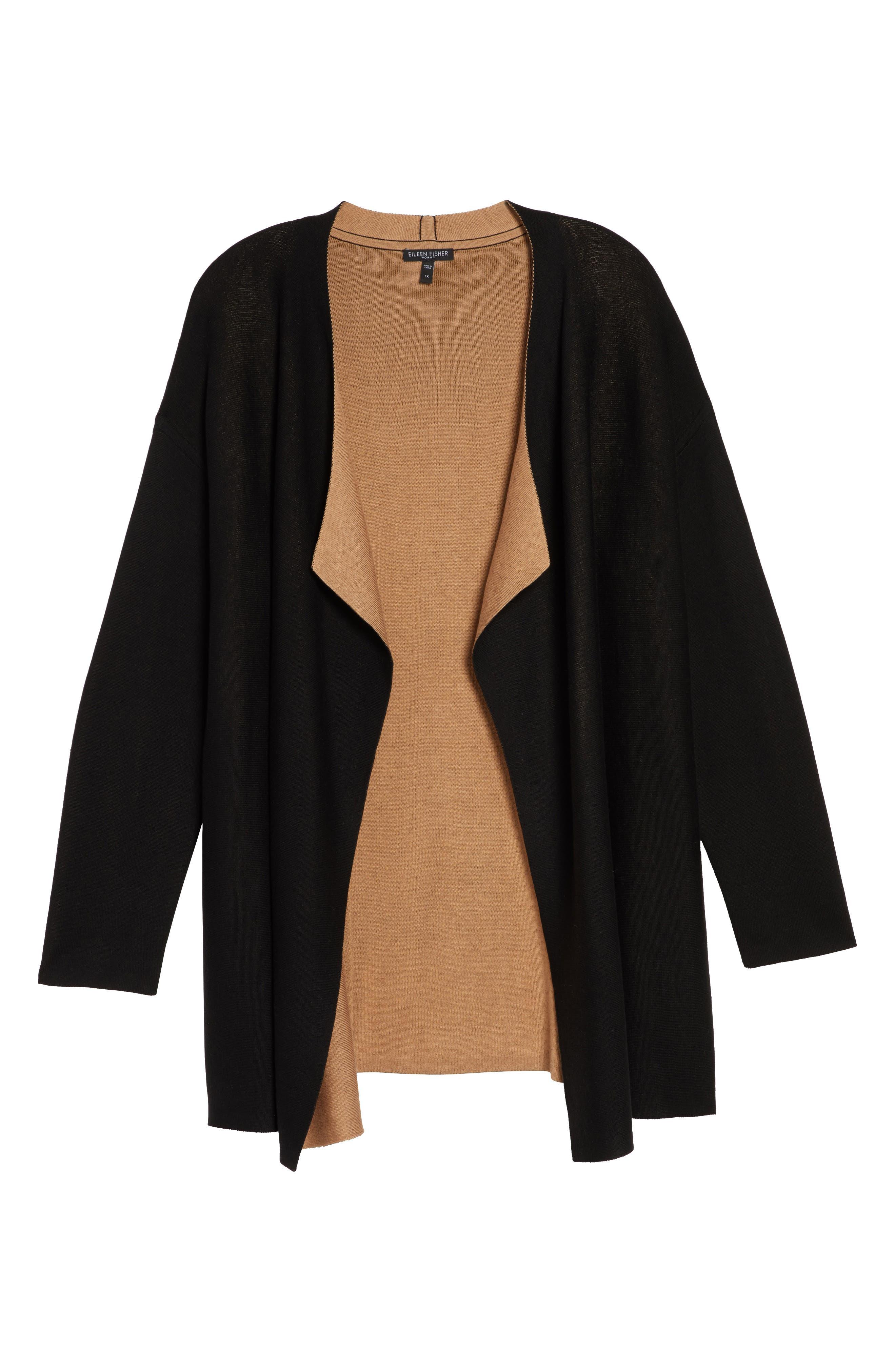 Reversible Silk Blend Cardigan,                             Alternate thumbnail 12, color,                             BLACK/ CLAY