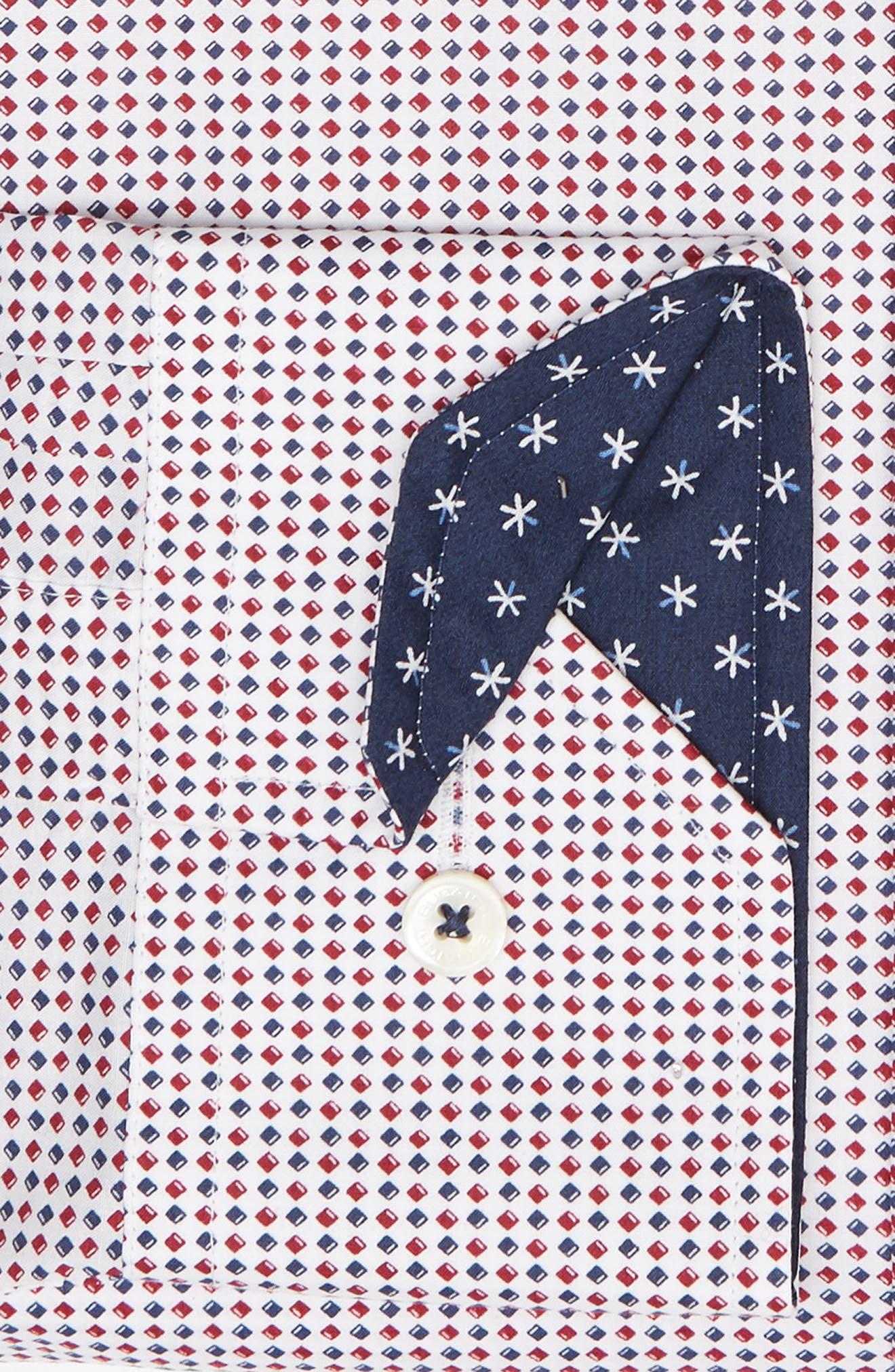 Trim Fit Print Dress Shirt,                             Alternate thumbnail 6, color,                             RUBY