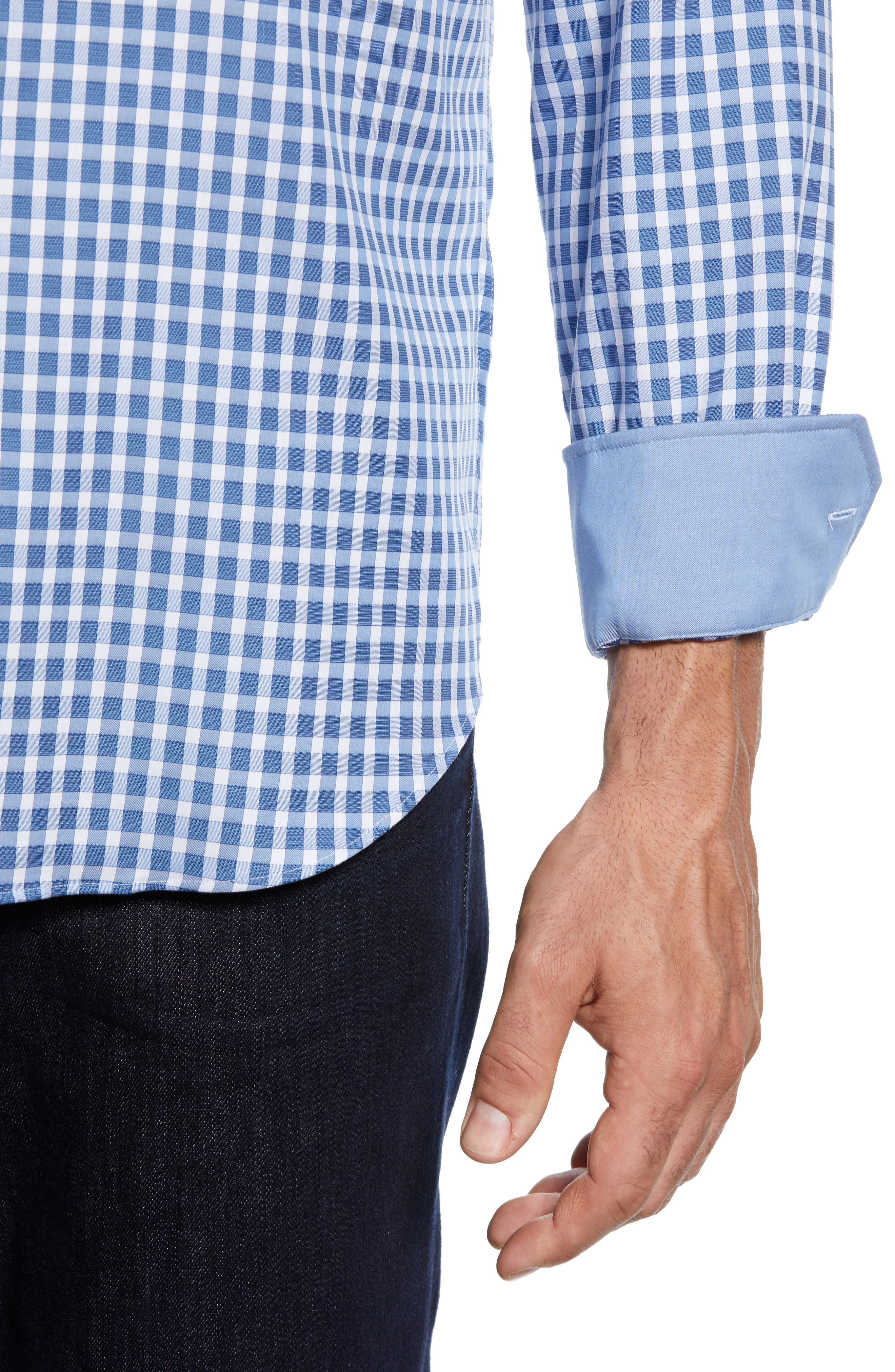 Shaped Fit Check Sport Shirt,                             Alternate thumbnail 2, color,                             AIR BLUE