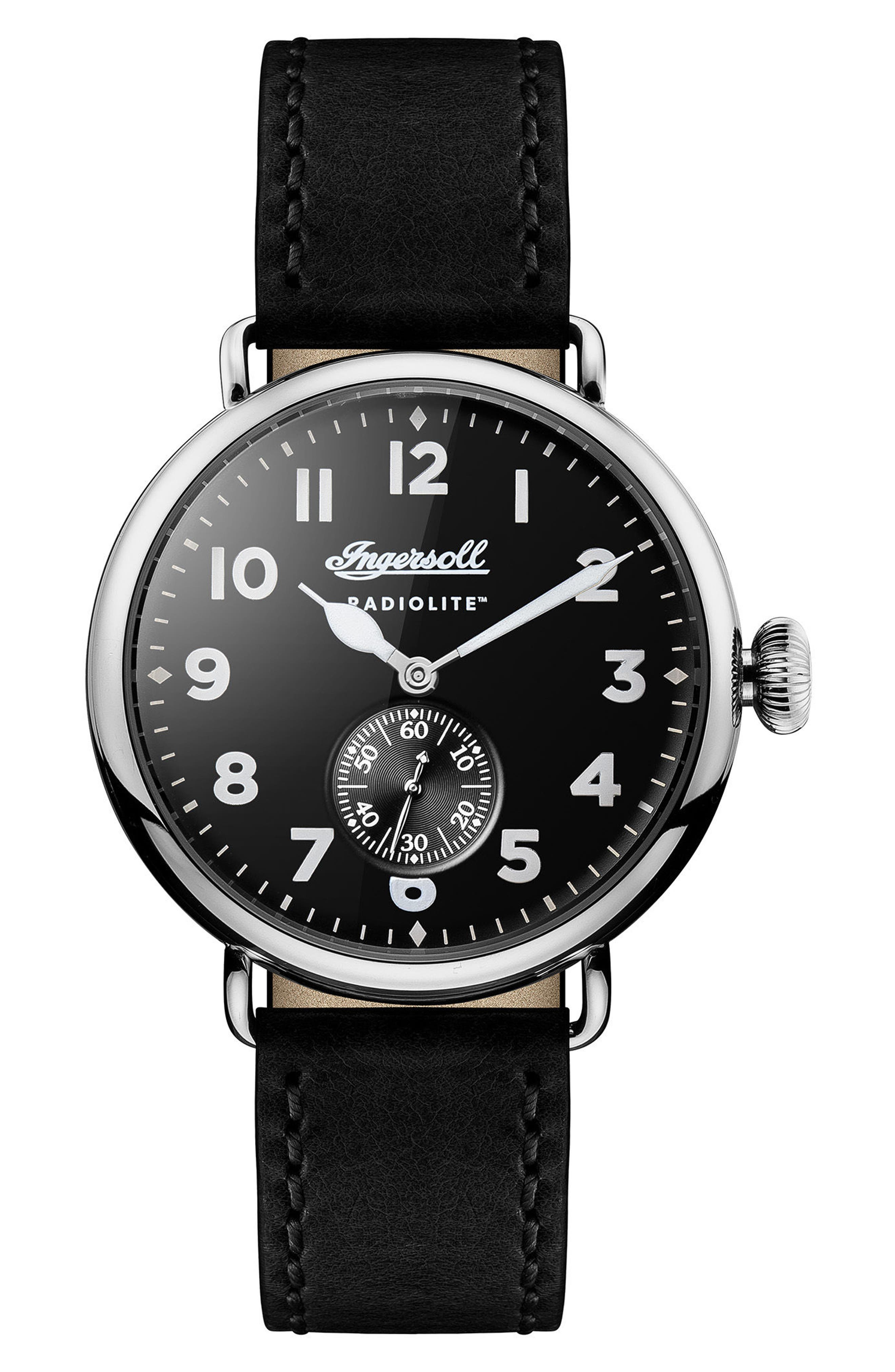 Ingersoll Trenton Leather Strap Watch, 44mm,                             Main thumbnail 1, color,                             001
