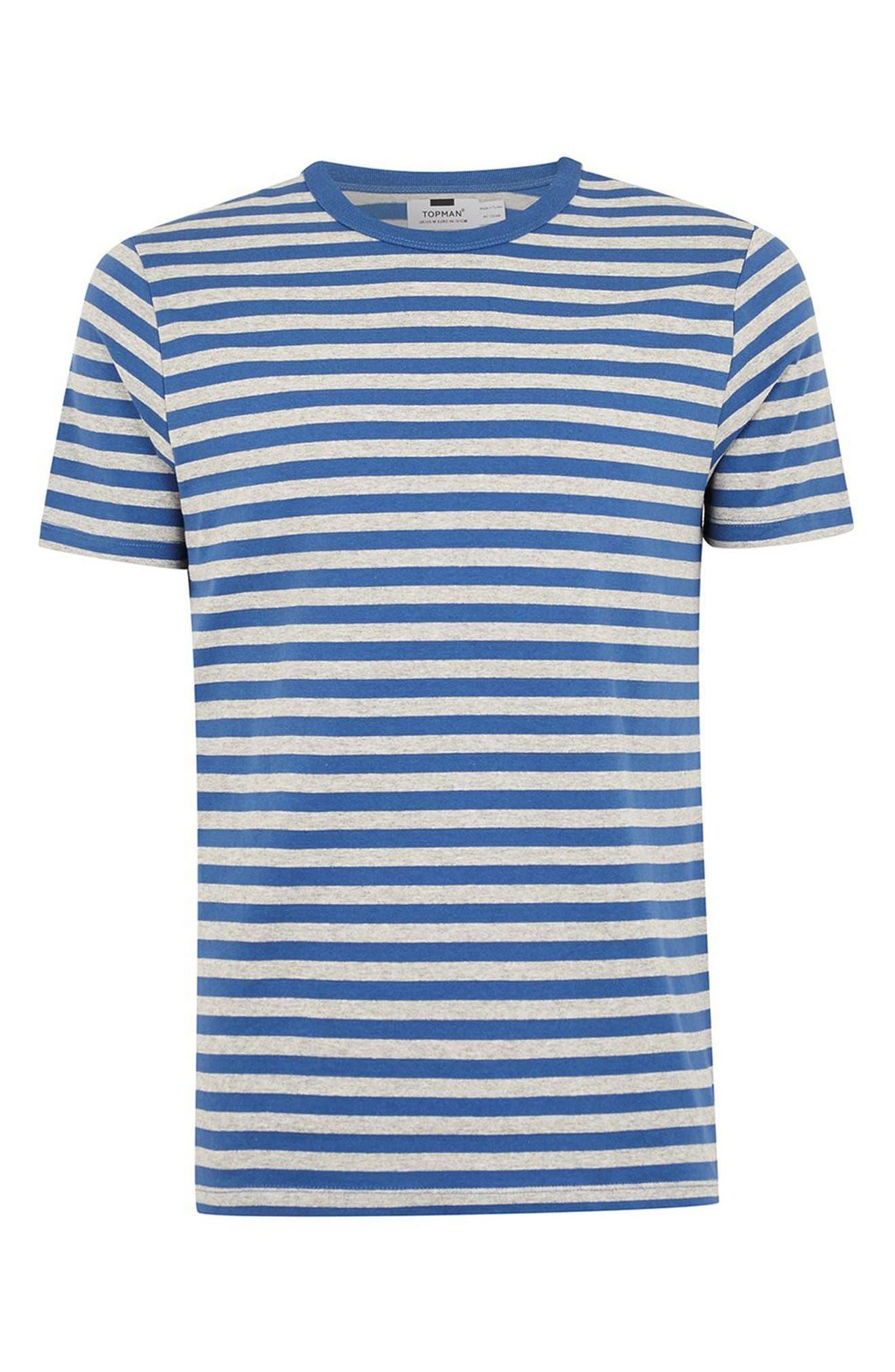 Slim Fit Stripe T-Shirt,                             Alternate thumbnail 4, color,                             MID BLUE MULTI