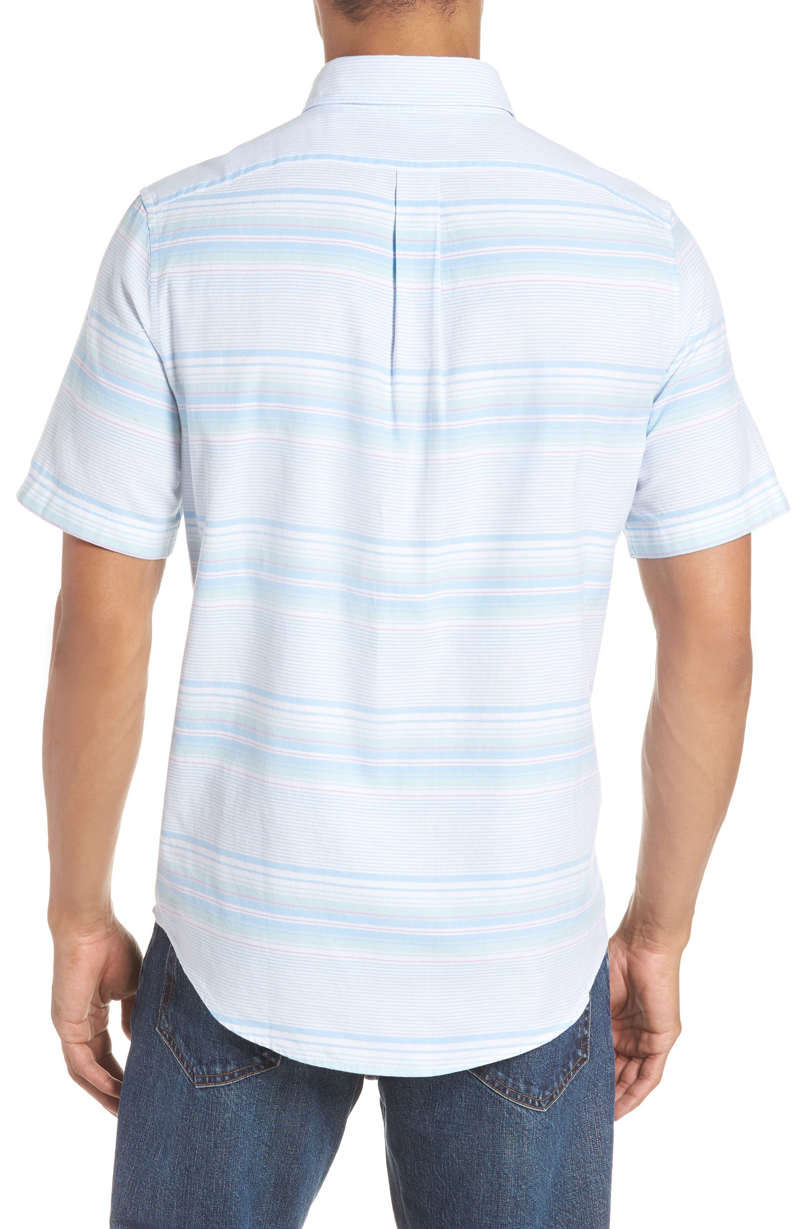 Sand Piper Tucker Regular Fit Stripe Oxford Sport Shirt,                             Alternate thumbnail 3, color,                             POOL SIDE