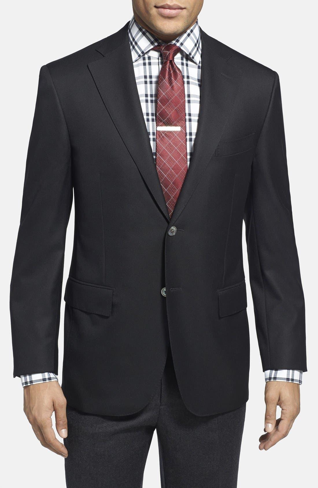 Trim Fit Wool Blazer,                         Main,                         color, 001