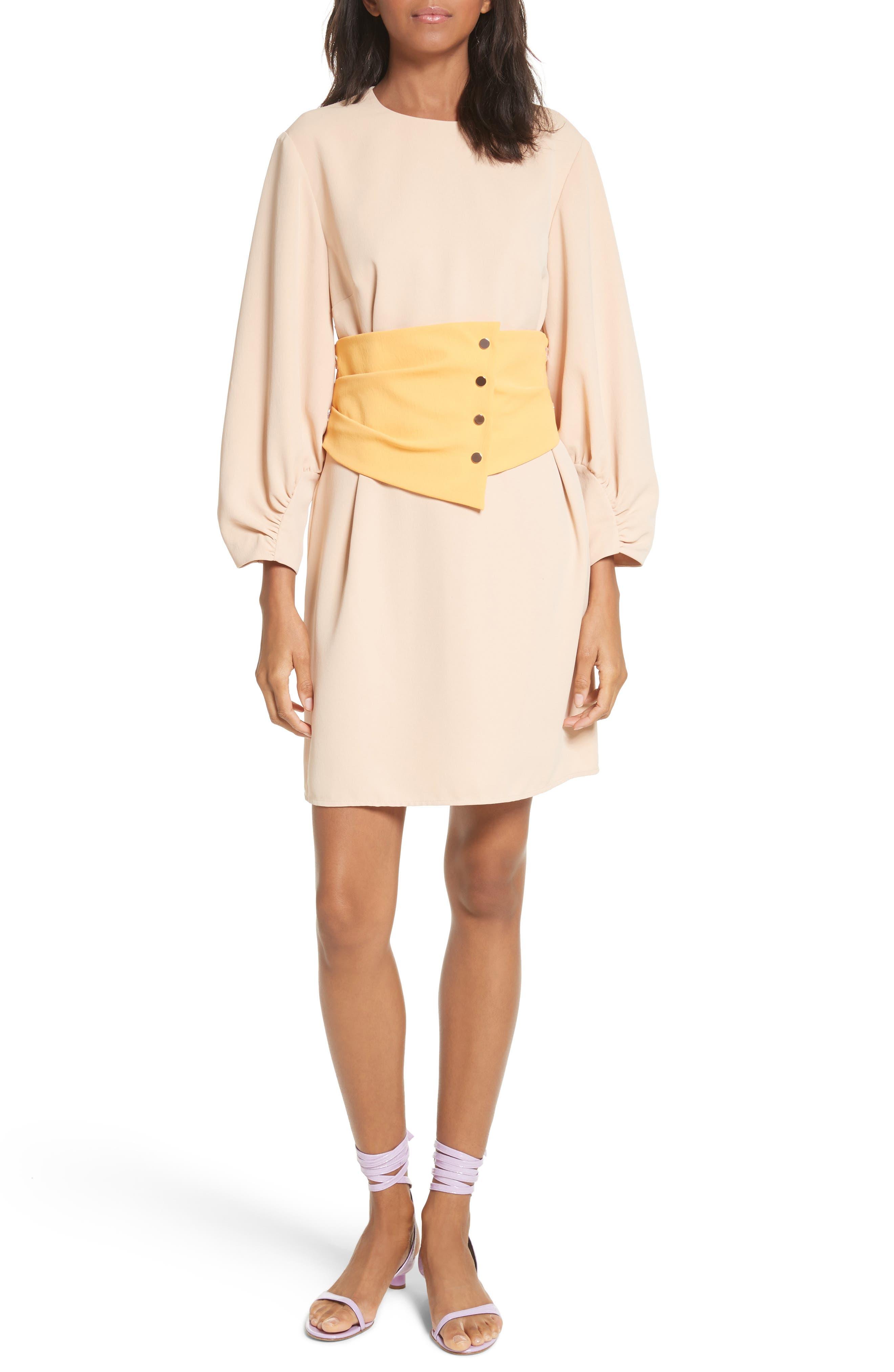 Shirred Sleeve Corset Dress,                             Alternate thumbnail 5, color,                             NUDE/ ORANGE MULTI