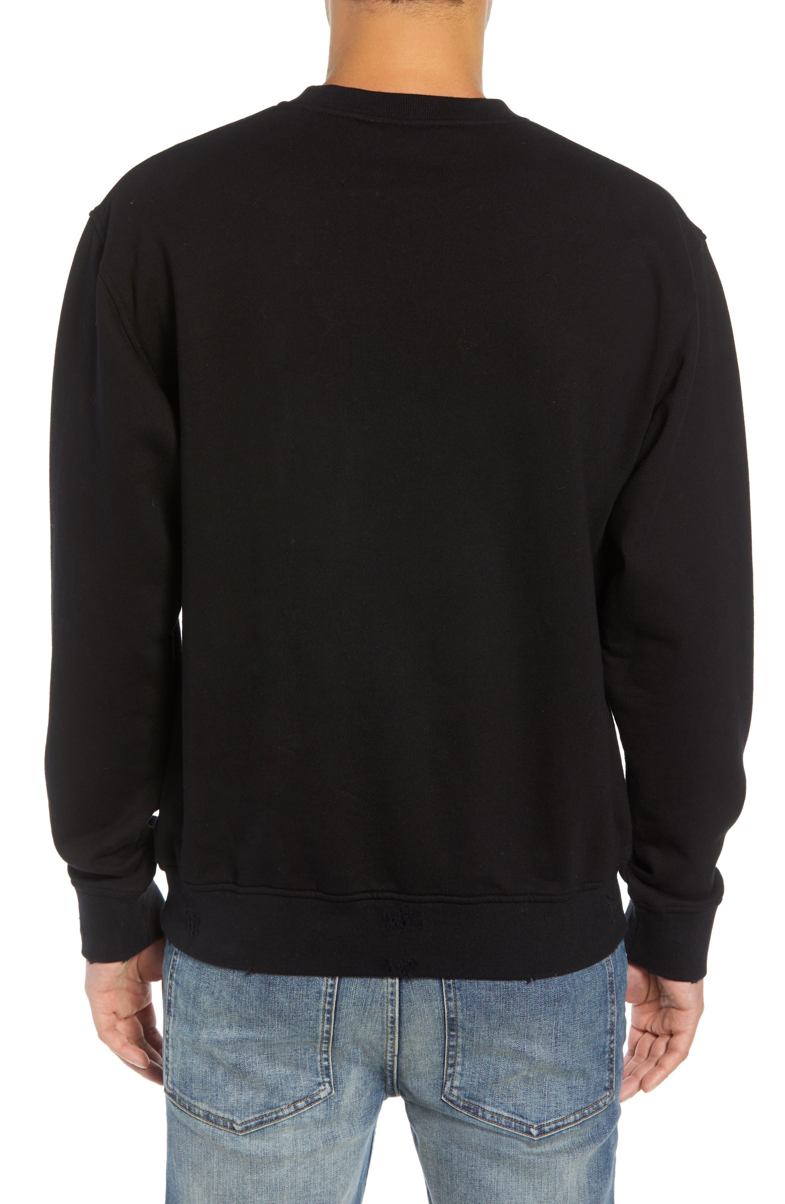 Nightmare Graphic Distressed Sweatshirt,                             Alternate thumbnail 2, color,                             BLACK