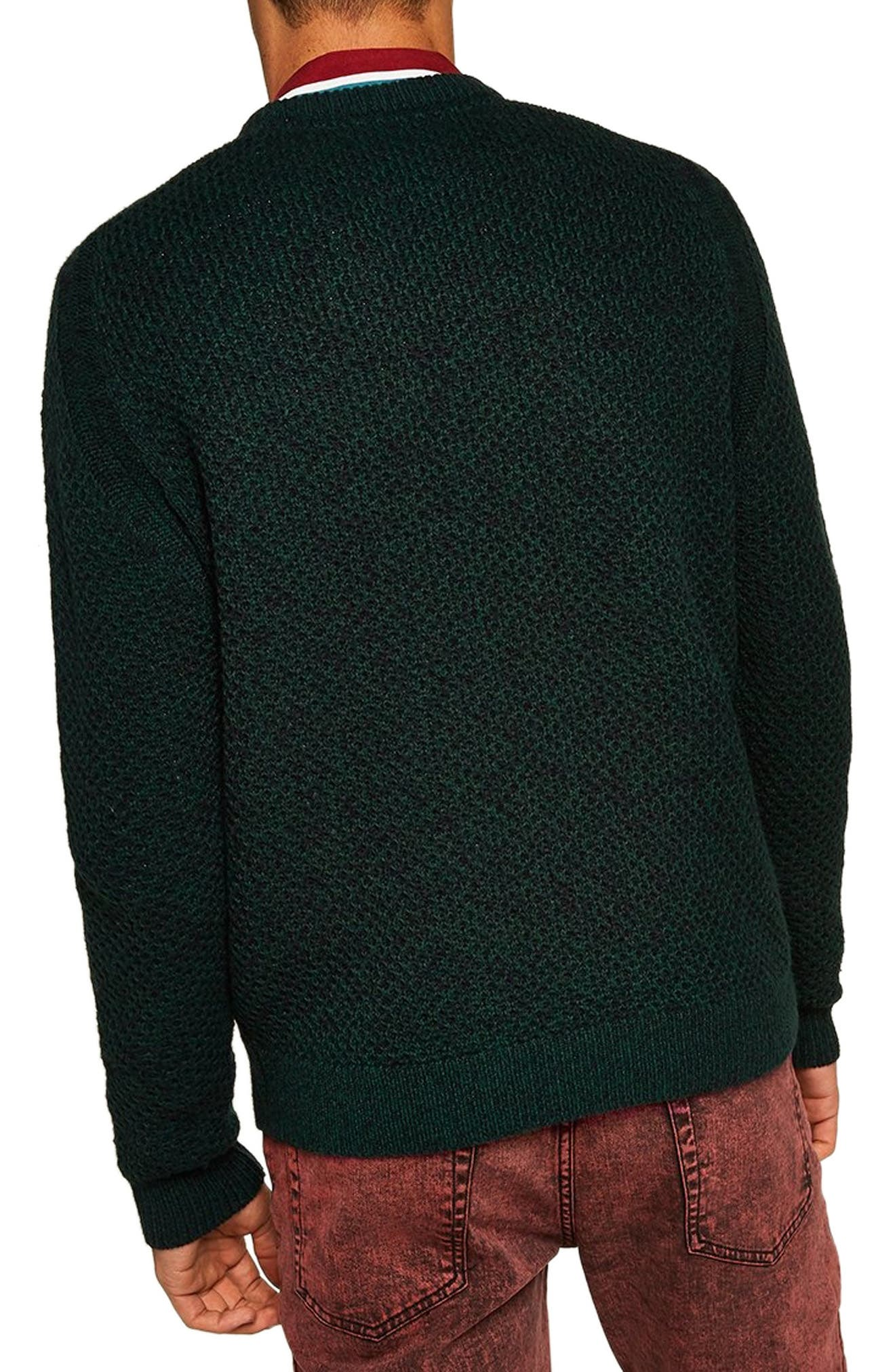 Honeycomb Classic Fit Crewneck Sweater,                             Alternate thumbnail 2, color,                             GREEN MULTI