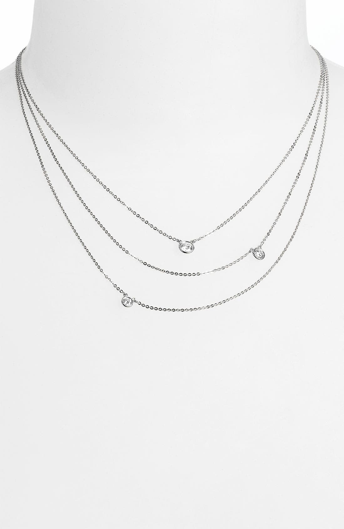 3-Row Diamond Necklace,                         Main,                         color, 710
