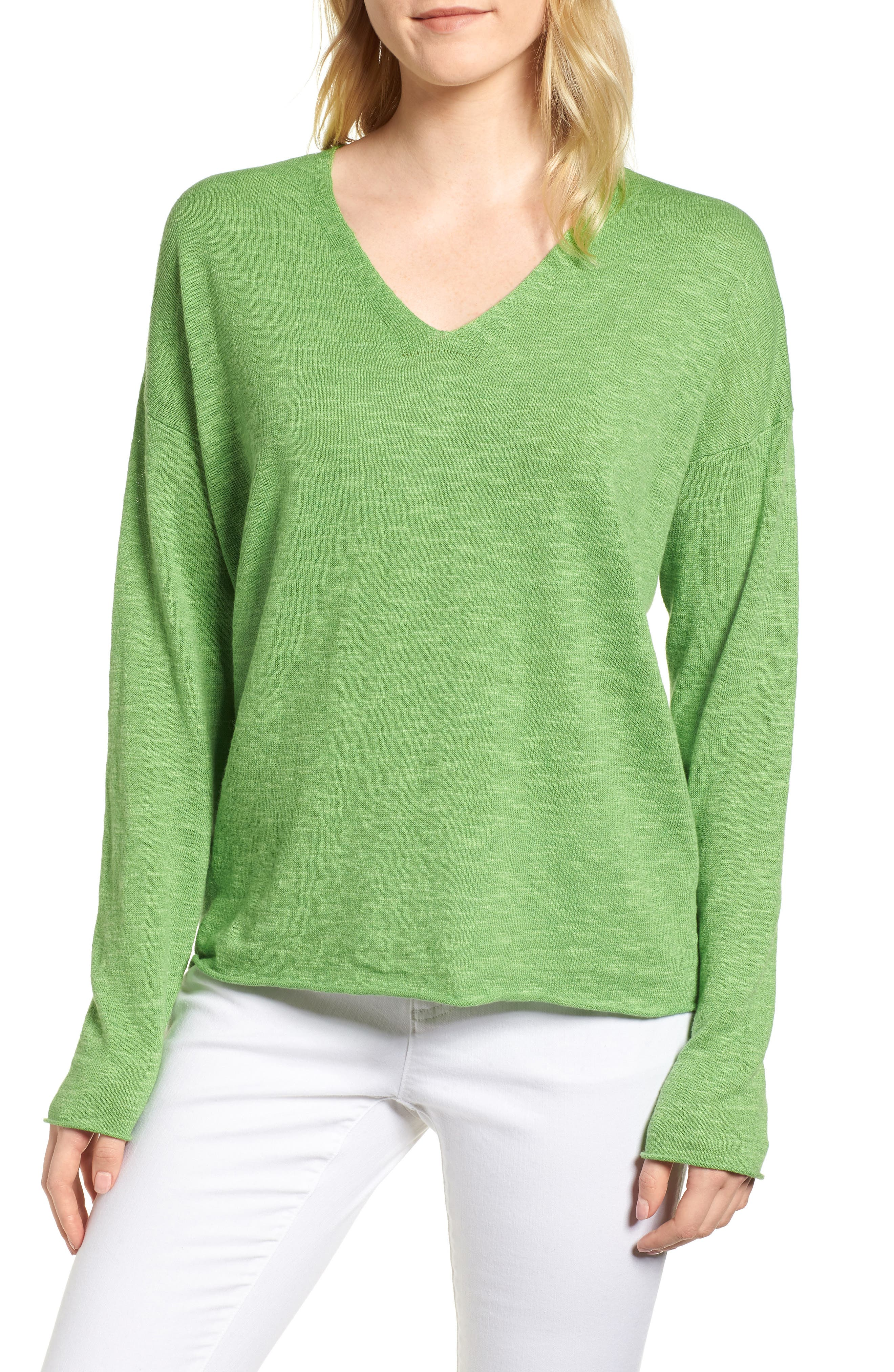 Boxy Organic Linen & Cotton Sweater,                             Main thumbnail 2, color,