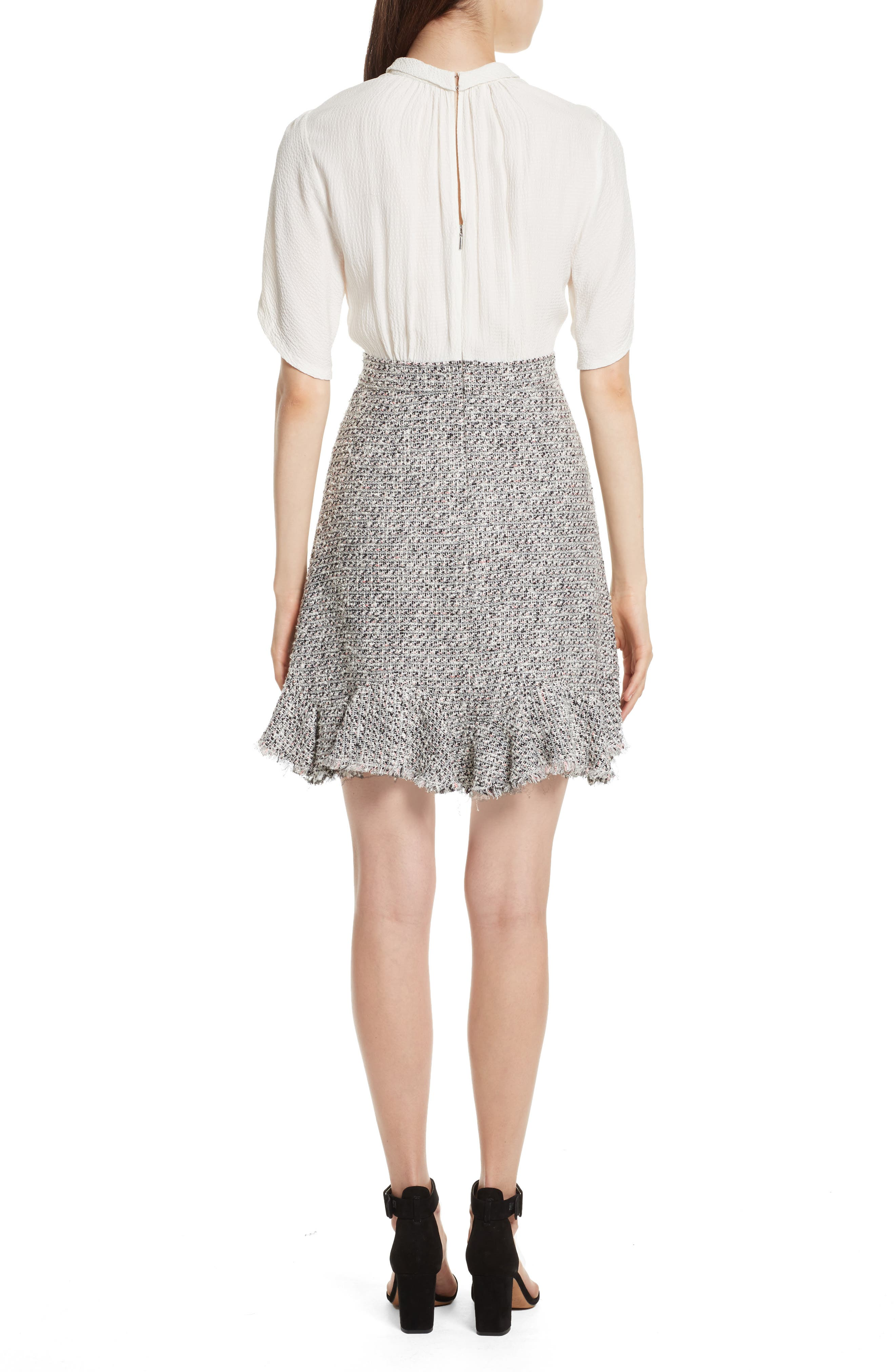 Silk & Tweed A-Line Dress,                             Alternate thumbnail 2, color,
