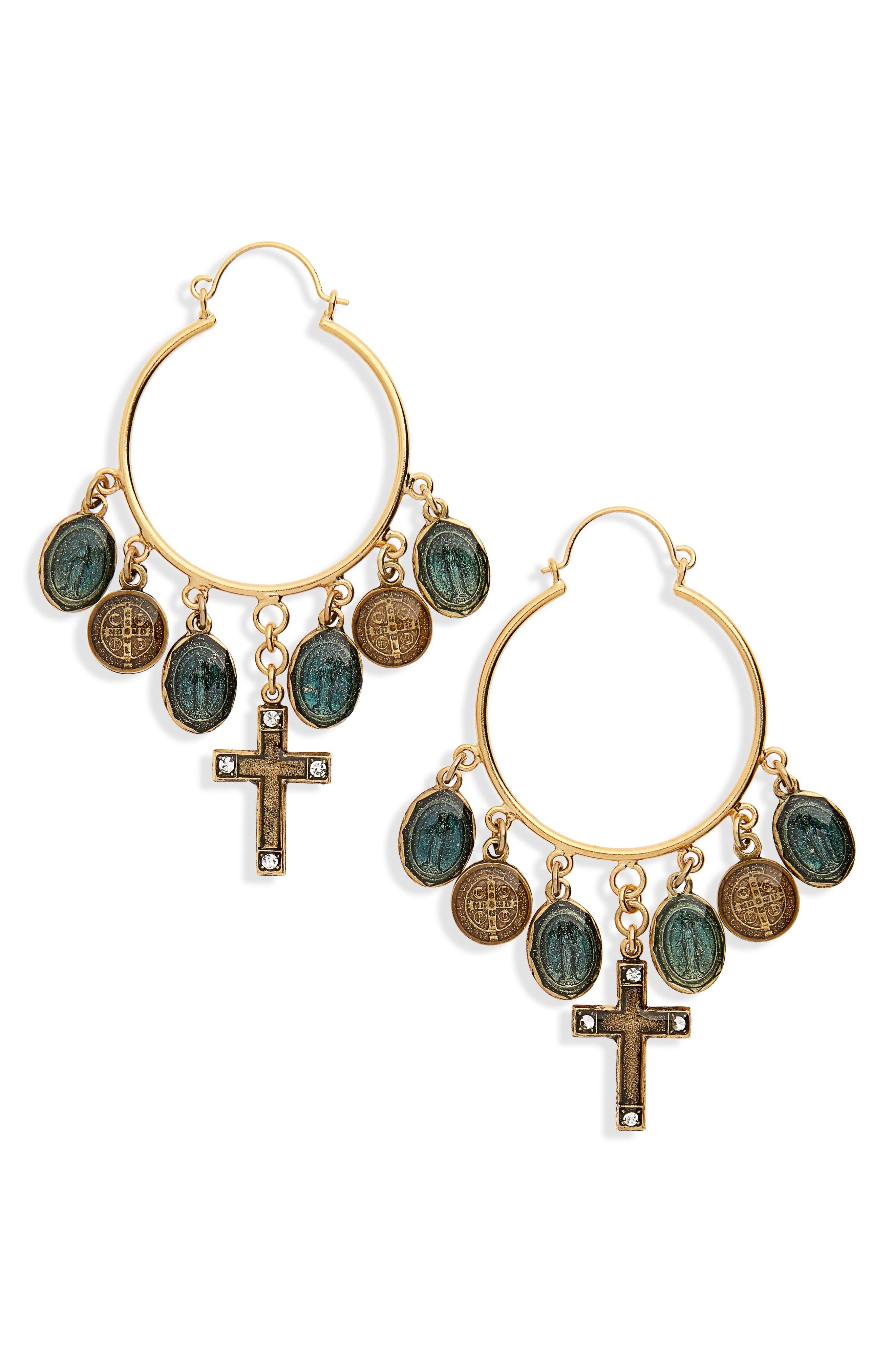 Les Celestes Charm Hoop Earrings,                         Main,                         color, 710
