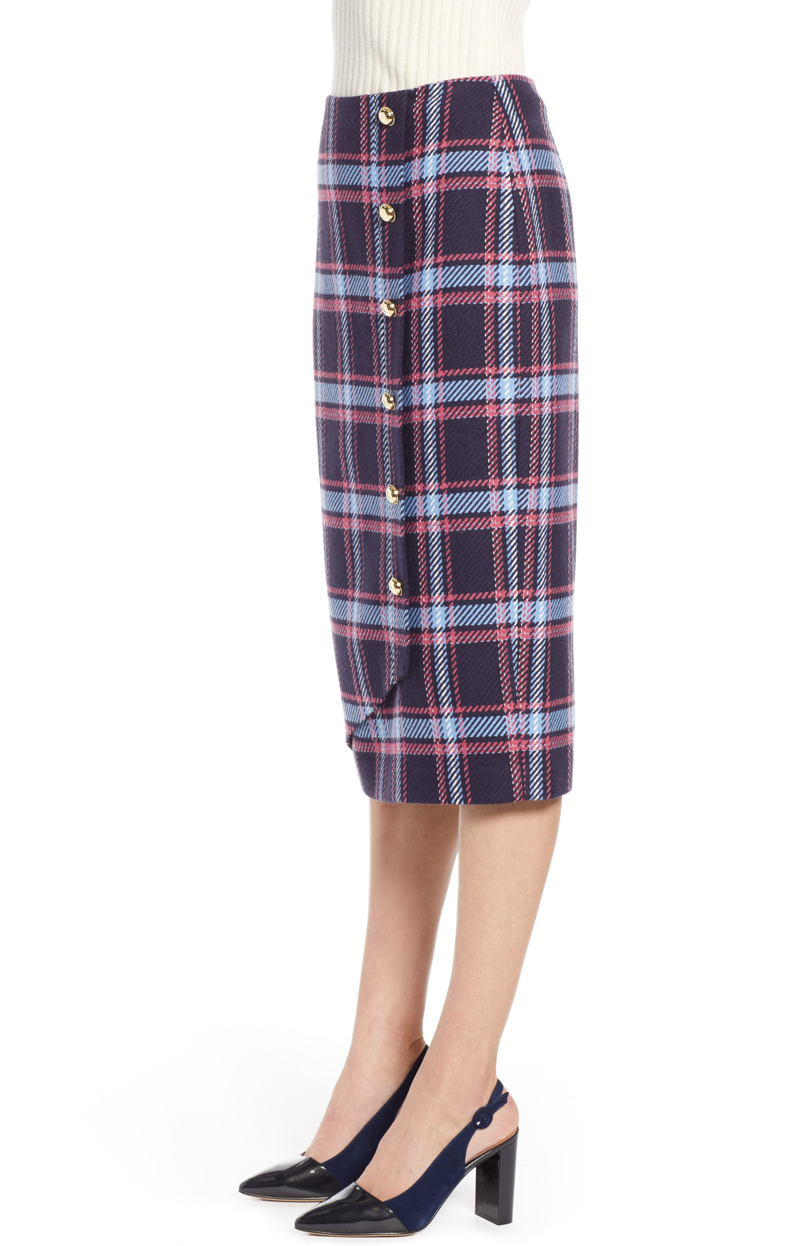 x Atlantic-Pacific Plaid Wrap Pencil Skirt,                             Alternate thumbnail 3, color,                             NAVY PLAID