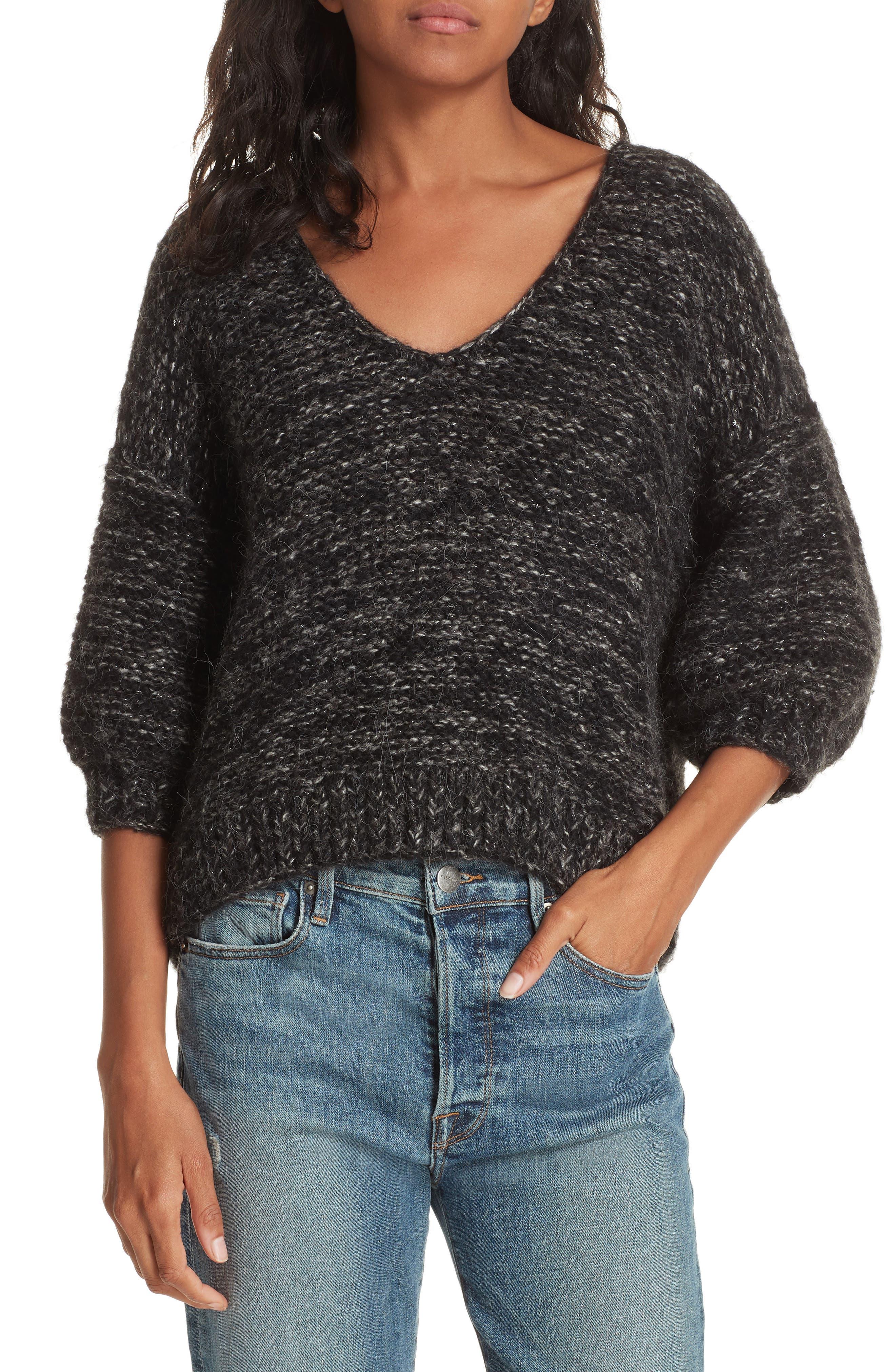 Aples Knit Blouse,                         Main,                         color, GREY COMBO