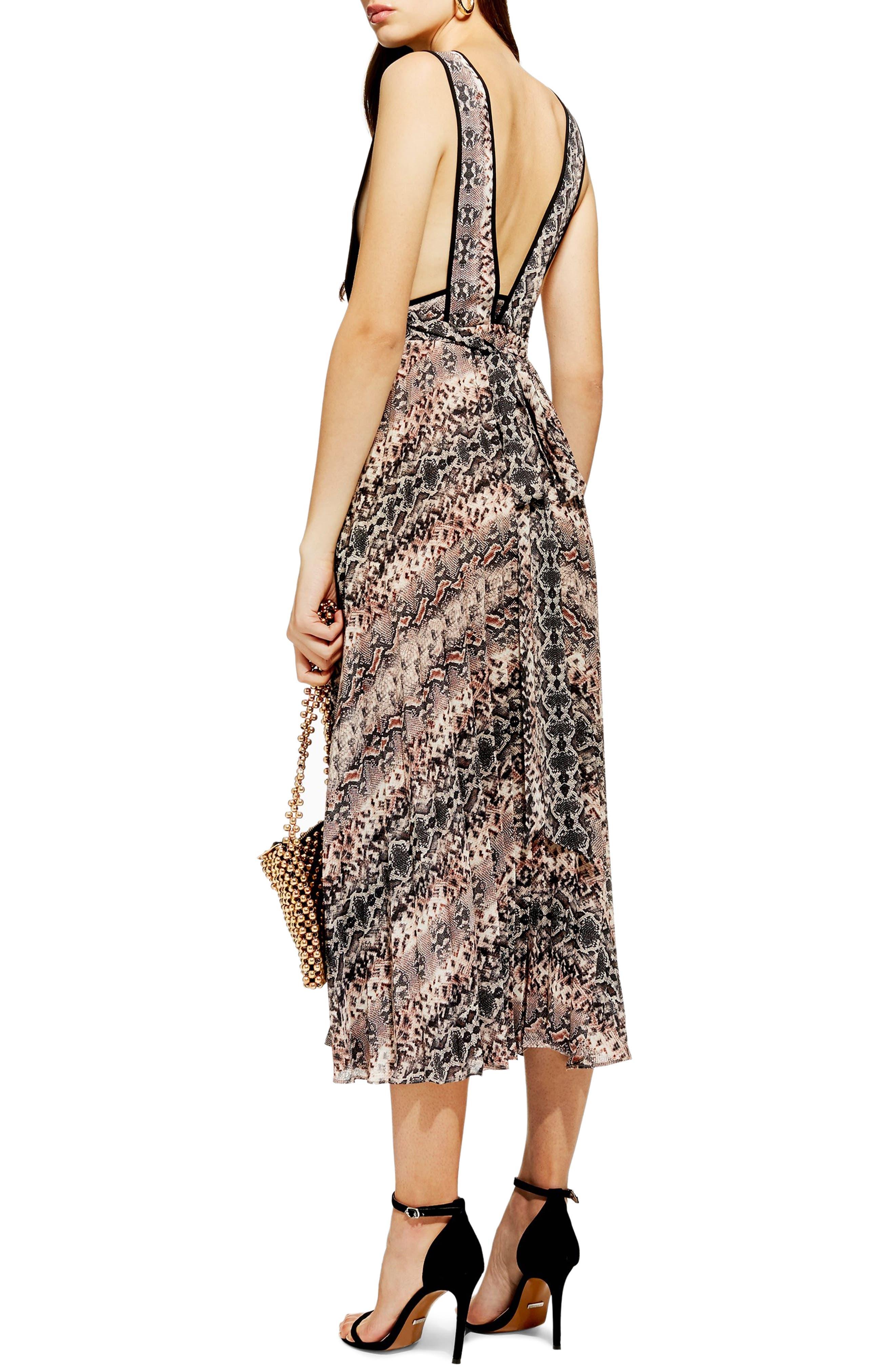 Snake Print Pleated Dress,                             Alternate thumbnail 2, color,                             PINK MULTI