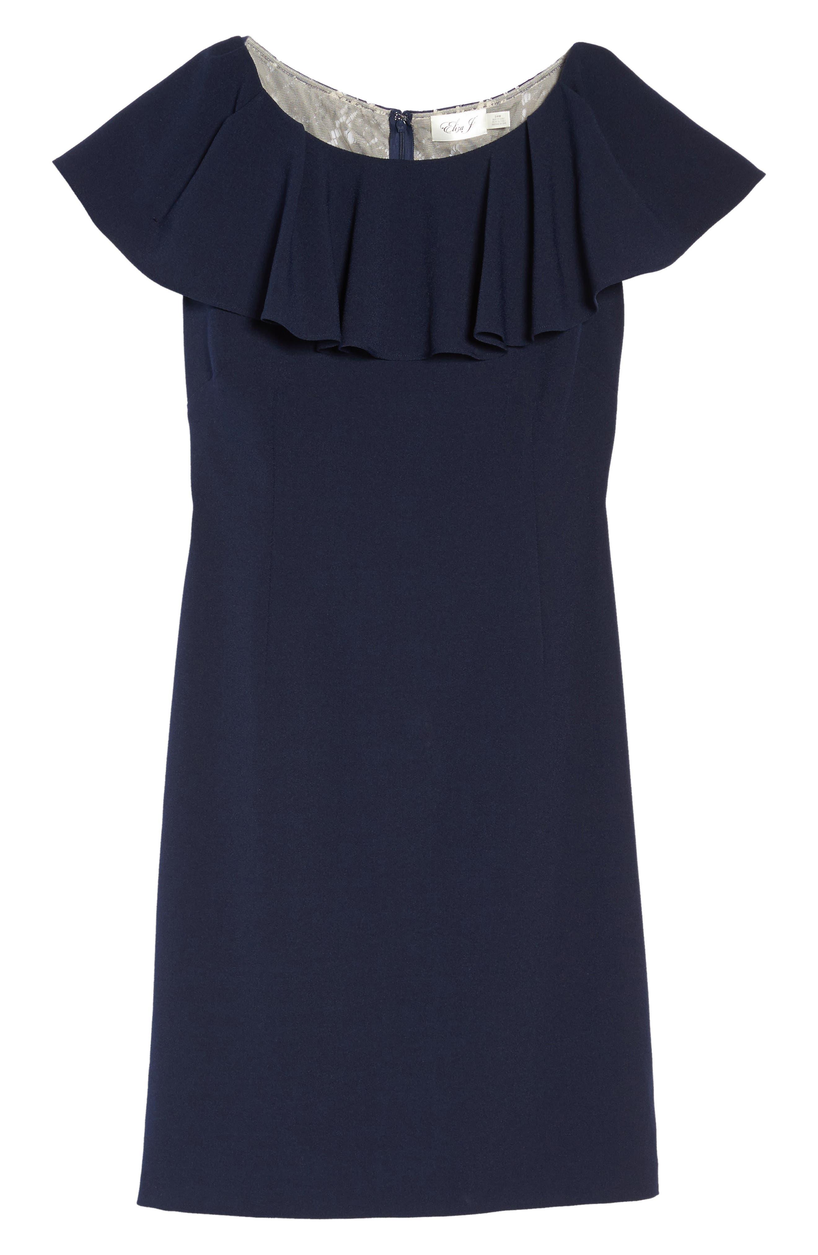 Ruffle Sheath Dress,                             Alternate thumbnail 6, color,                             410