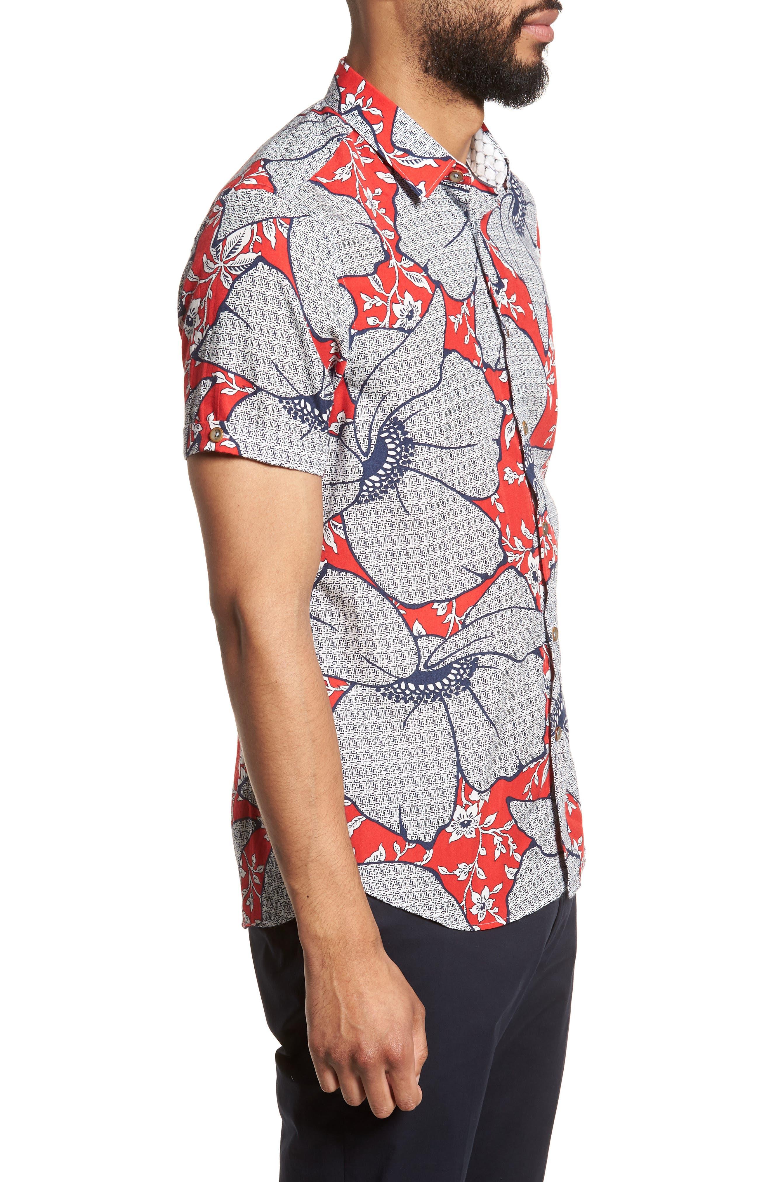 Sohot Trim Fit Floral Sport Shirt,                             Alternate thumbnail 3, color,                             RED