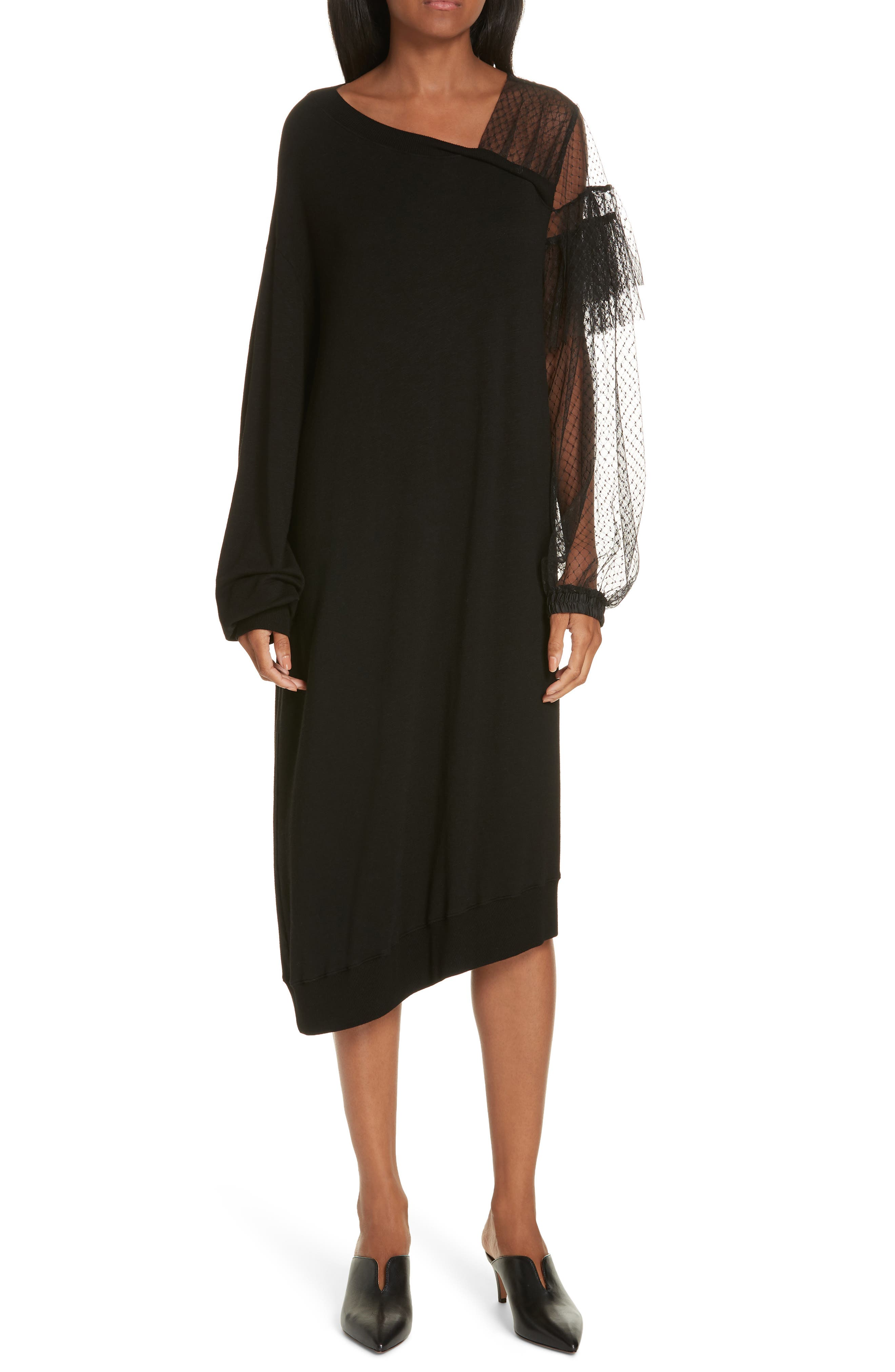 Mix Media Asymmetrical Hem Ruffle Dress,                         Main,                         color, BLACK
