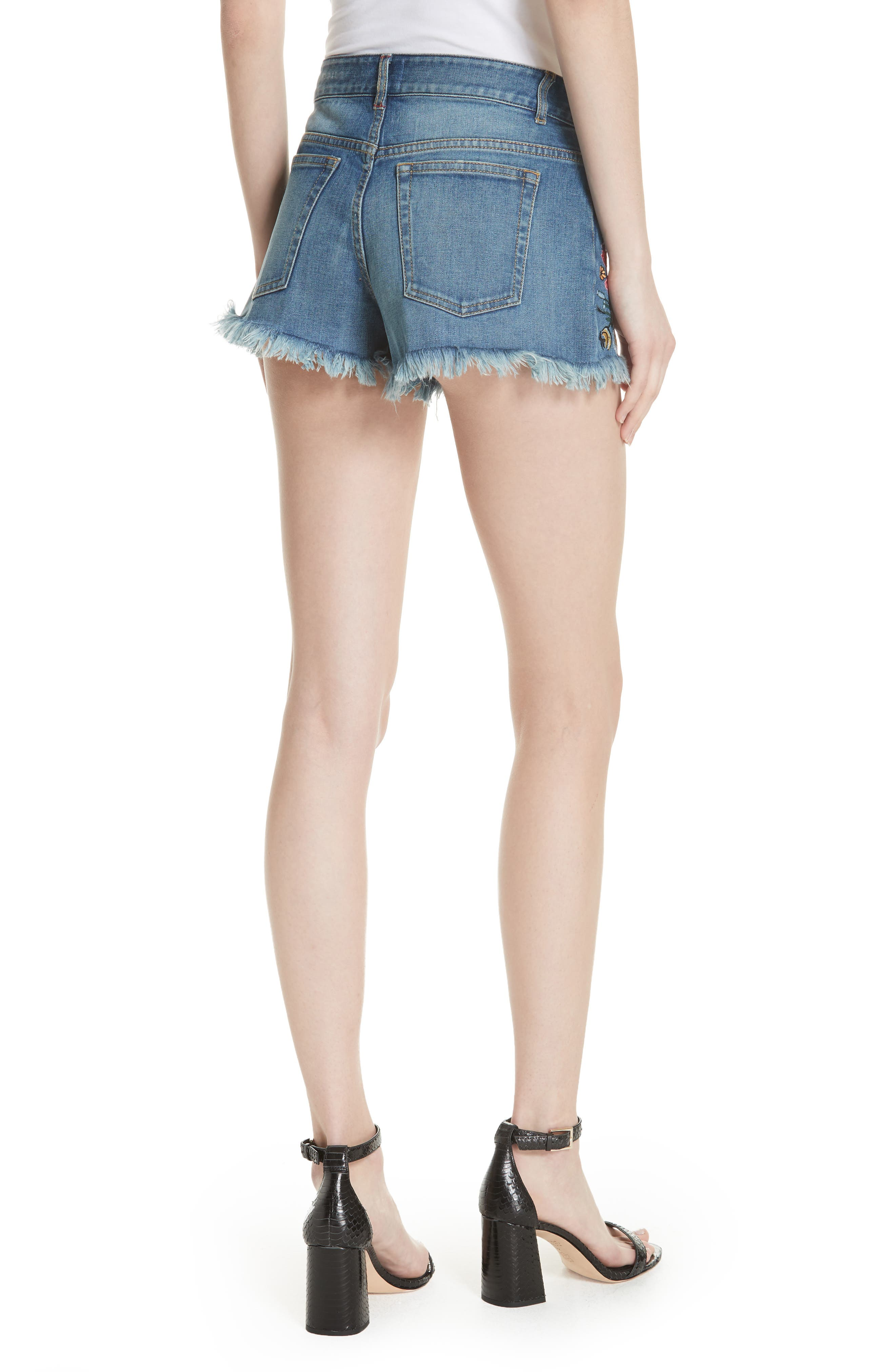 ALICE + OLIVIA JEANS,                             Embroidered Denim Shorts,                             Alternate thumbnail 2, color,                             460