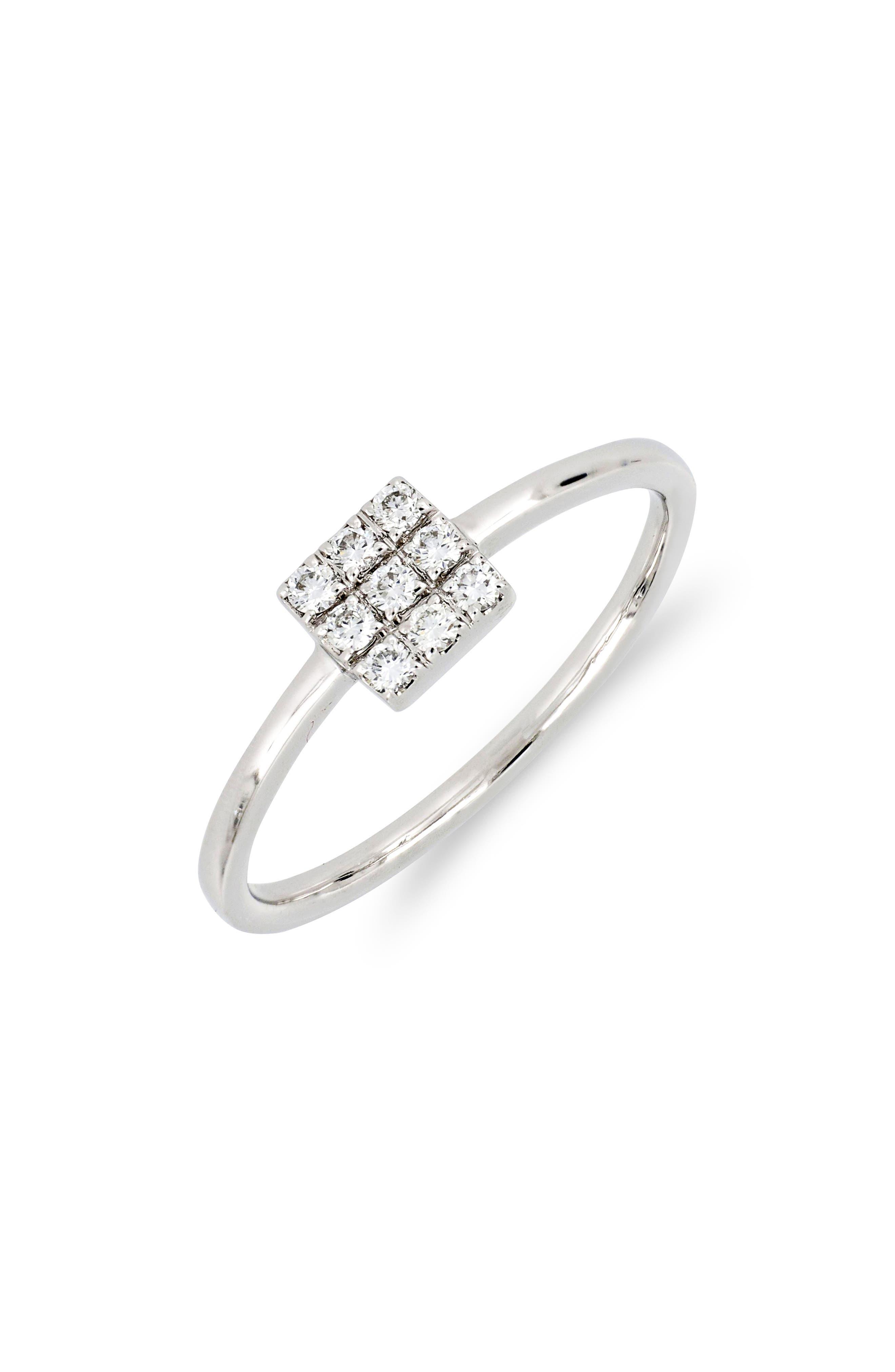 Kiera Square Diamond Stack Ring,                             Main thumbnail 1, color,                             WHITE GOLD