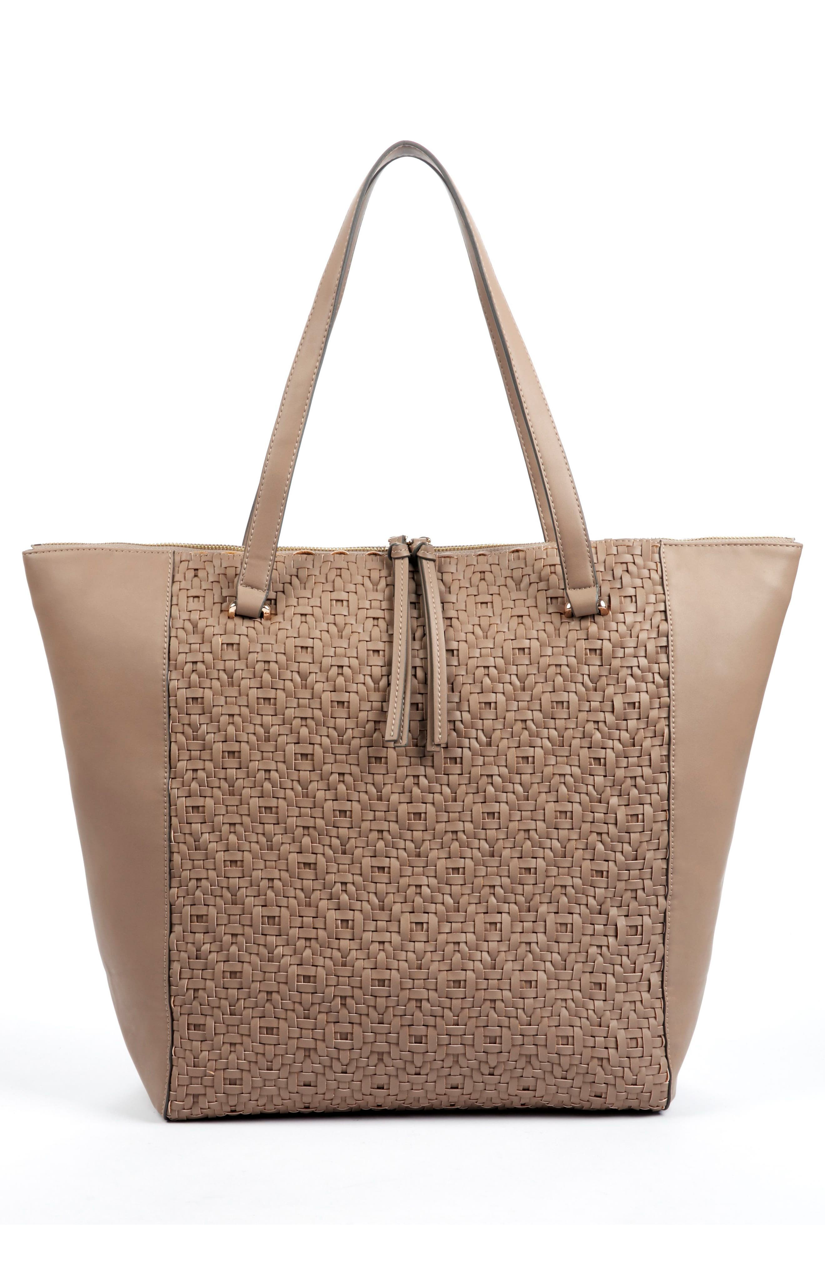 Woven Faux Leather Tote,                             Alternate thumbnail 4, color,