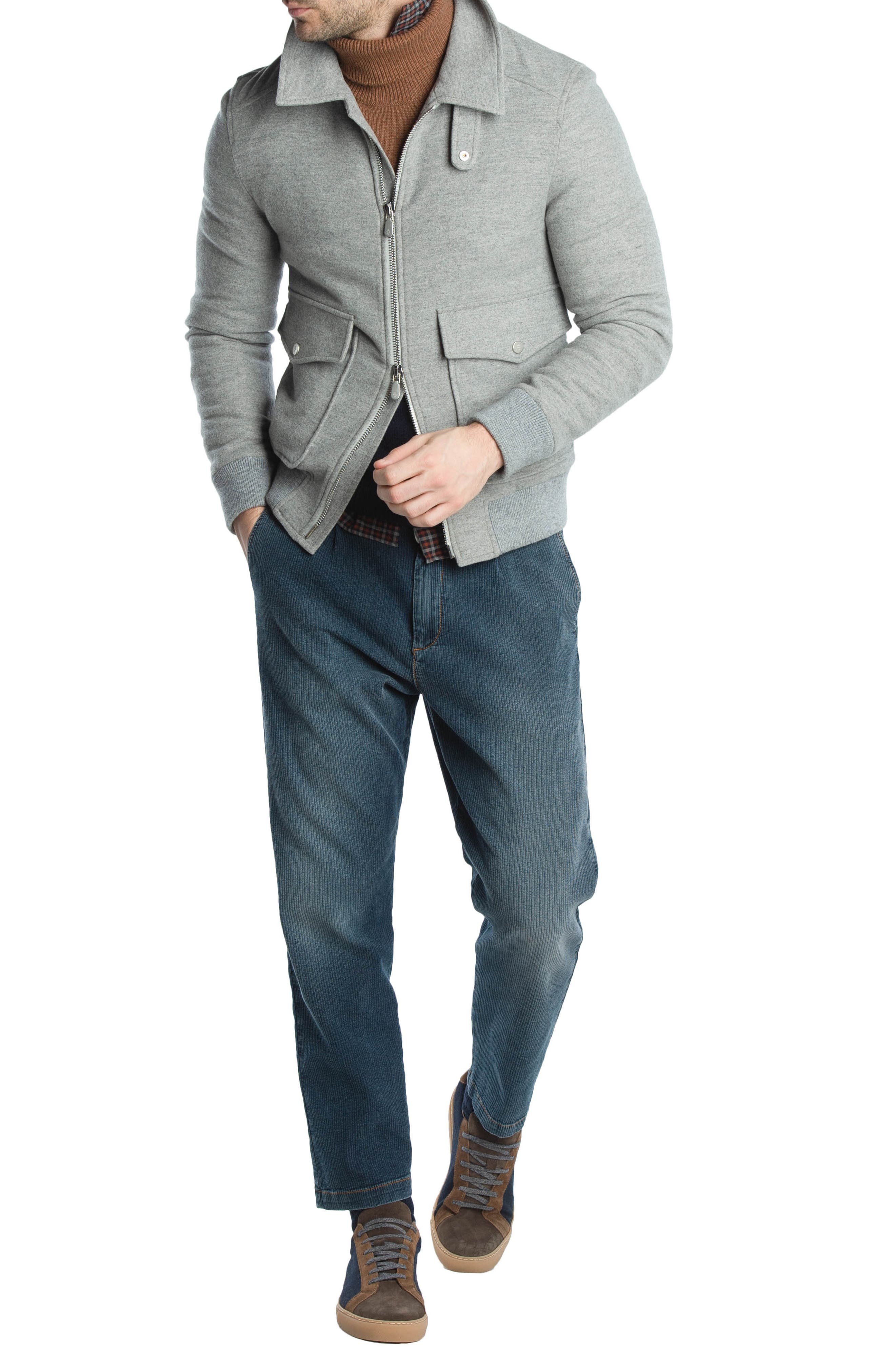 Wool & Cashmere Bomber Jacket,                             Alternate thumbnail 3, color,                             LIGHT GREY